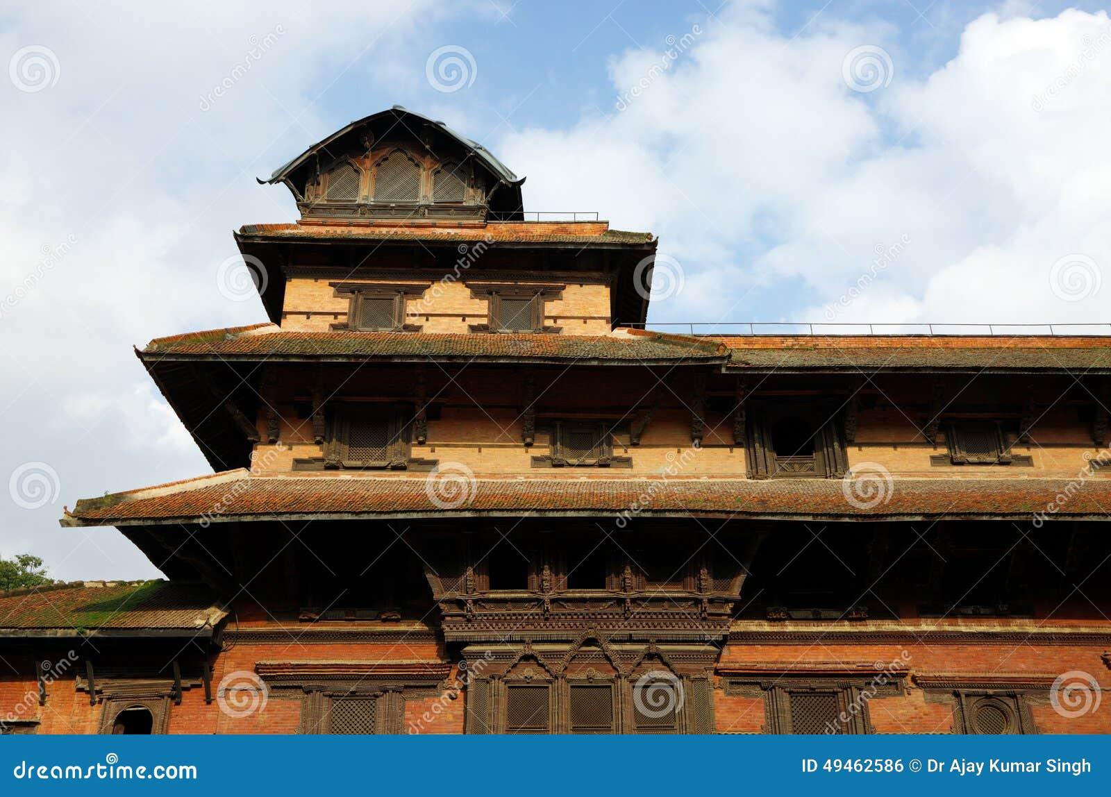 Wierzchołek dziewięć kondygnaci Basantapur wierza w Nosowym Chowk podwórzu