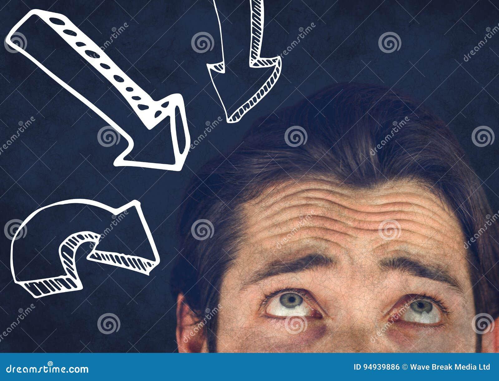 Wierzchołek mężczyzna kierownicze patrzeje białe zmniejszający się strzała przeciw marynarki wojennej tłu z grunge narzutą
