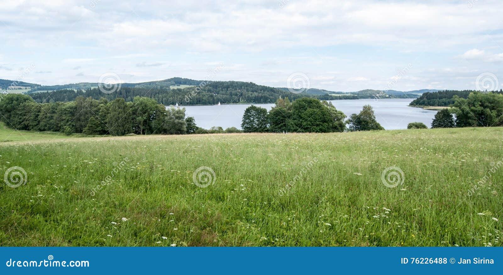 Wiese mit Wasserreservoir und Hügeln Lipno auf dem Hintergrund