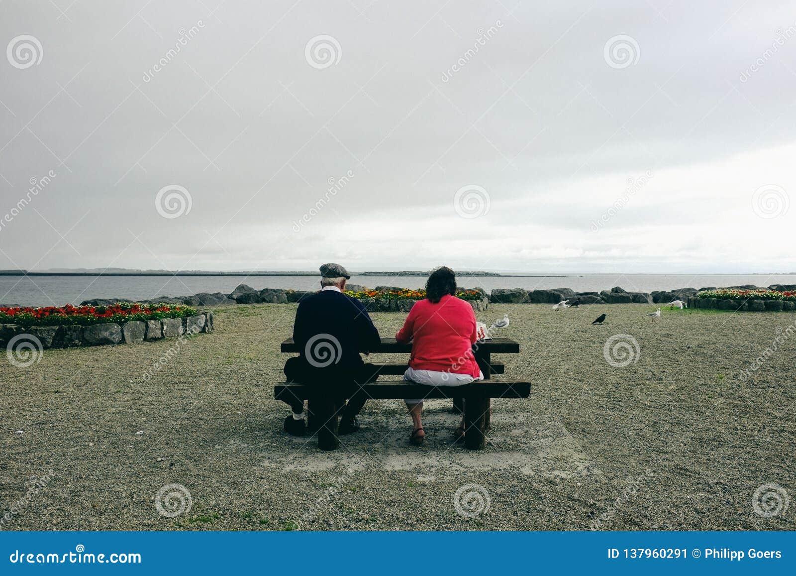 Wiesza za Galway zatoce Salthill przy, bierze przerwę i ogląda ptaki,