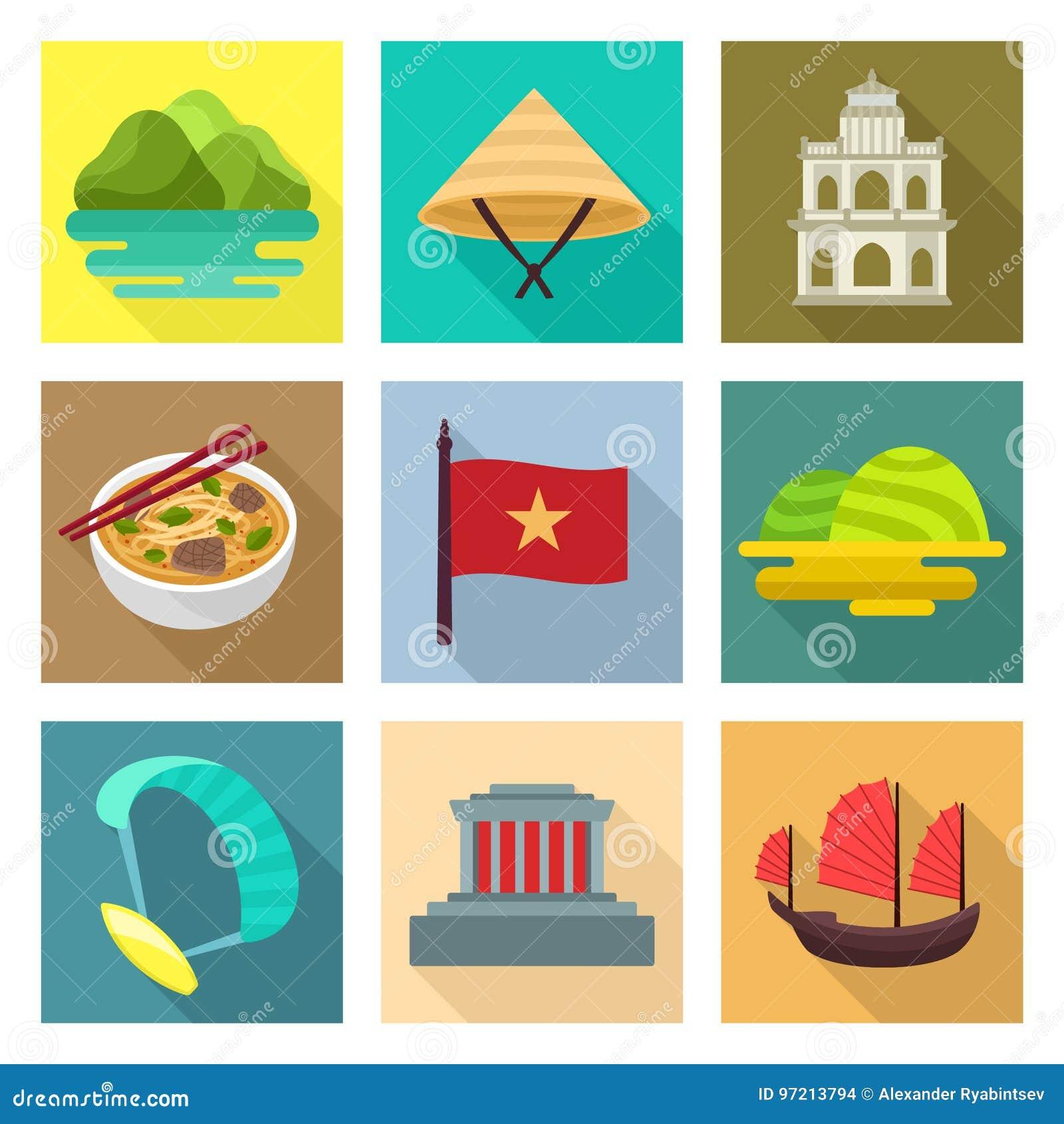 Wietnam podróży ikony