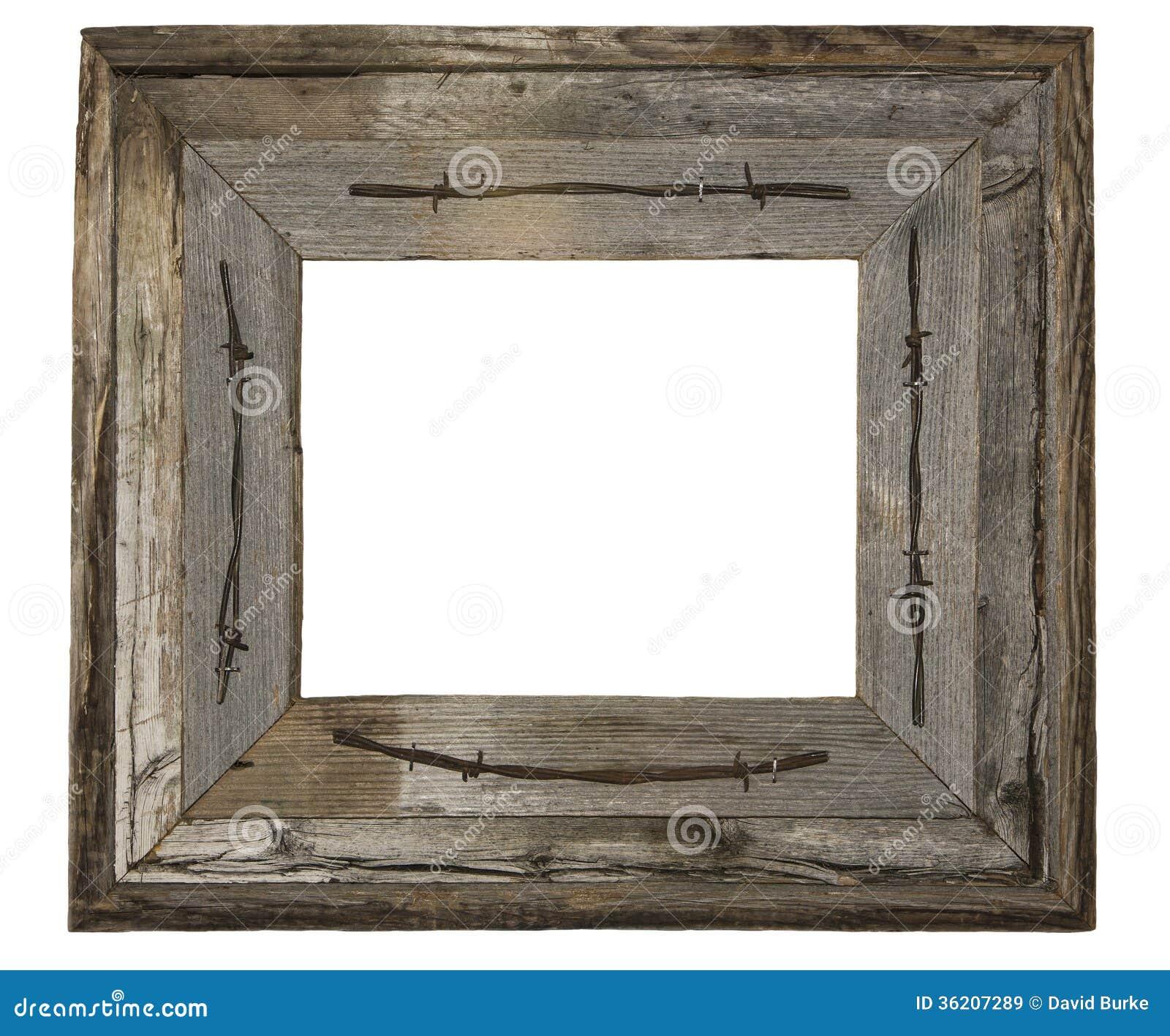 Wietrzejący drewniany fotografii ramy drut kolczasty odizolowywający