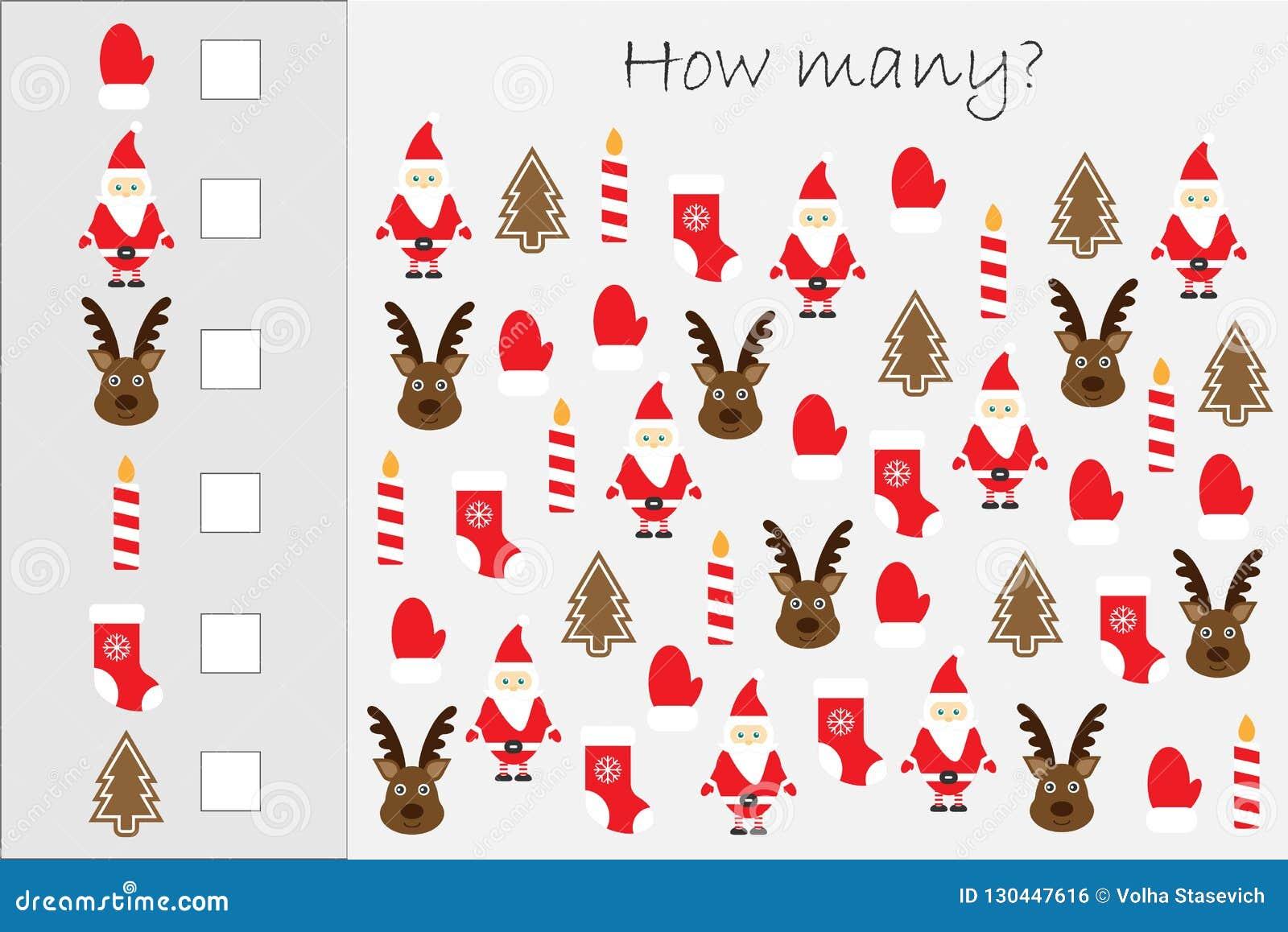 Wievielen Spiel mit Weihnachtsbildern für Kinder zählend, pädagogisches Mathe für die Entwicklung des logischen Denkens eine Arbe