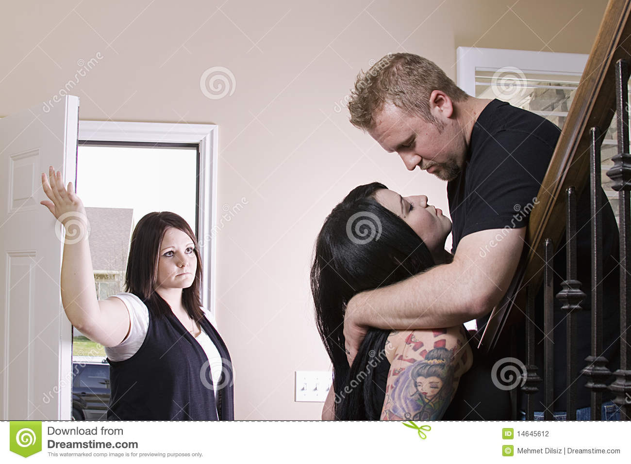 Wife Coming Home Finding Her Husband Cheating Stock Photo