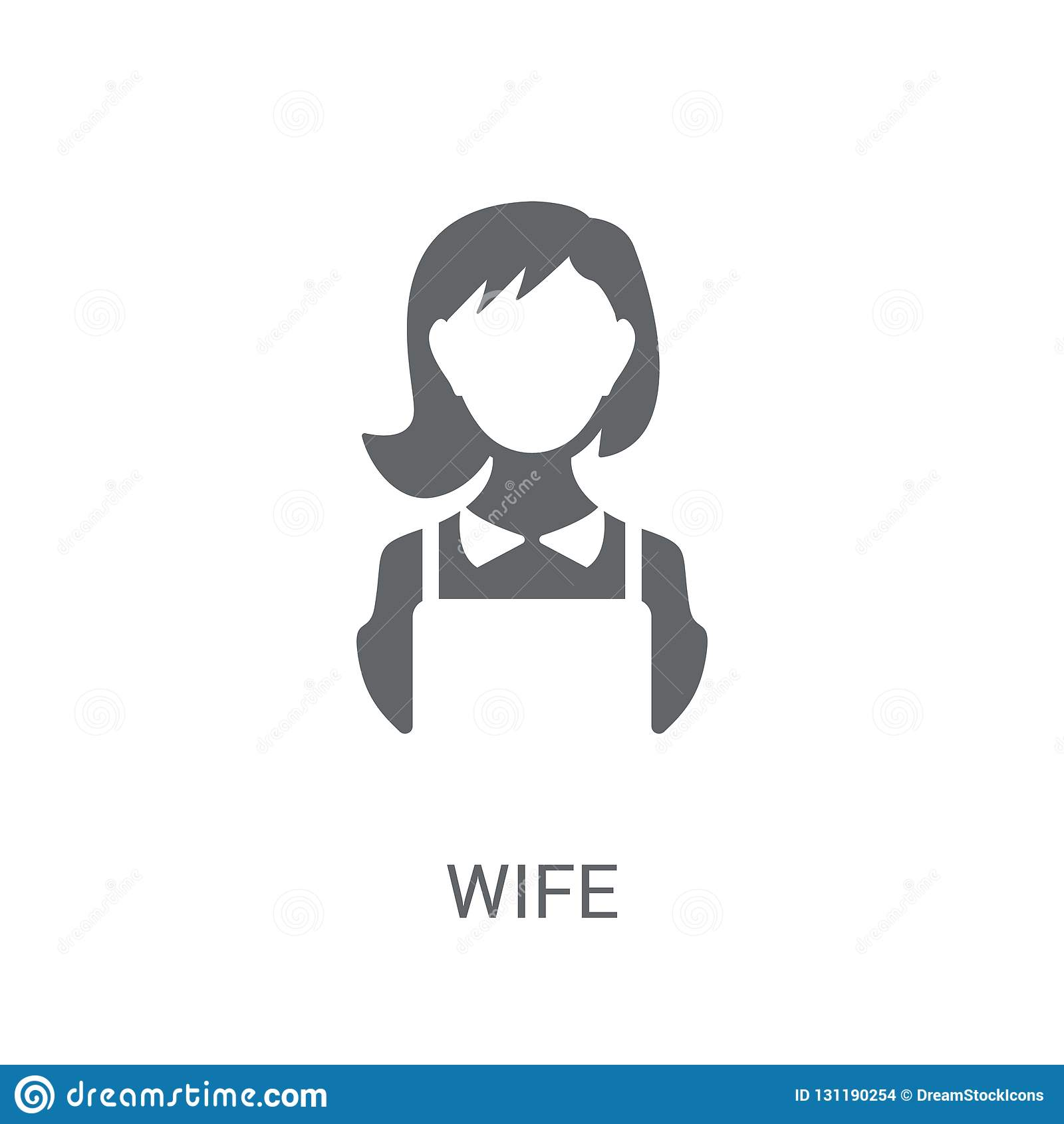 wife icon. Trendy wife logo concept on white background from Family Relations collection
