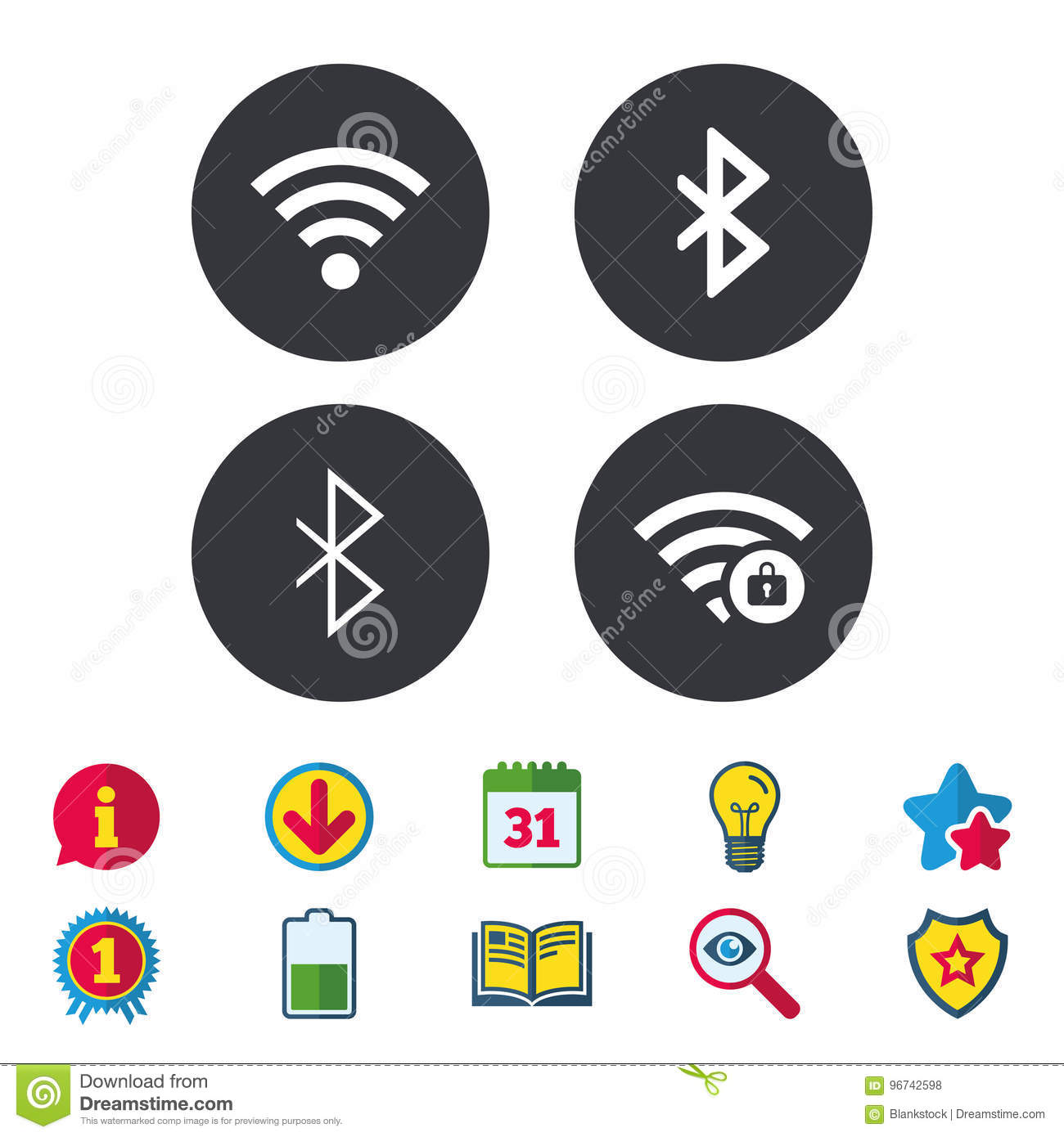 Wifi And Bluetooth Icon Wireless Mobile Network Editorial Stock