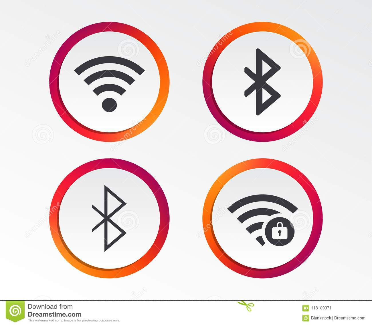 Wifi And Bluetooth Icon Wireless Mobile Network Stock Vector