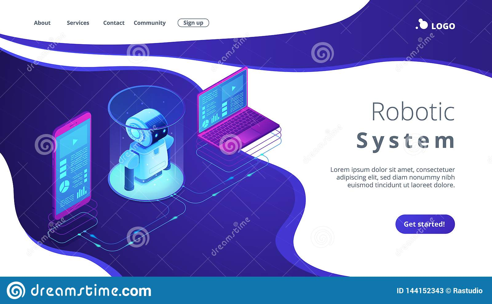 WiFi controlled robotics isometric3D landing page.