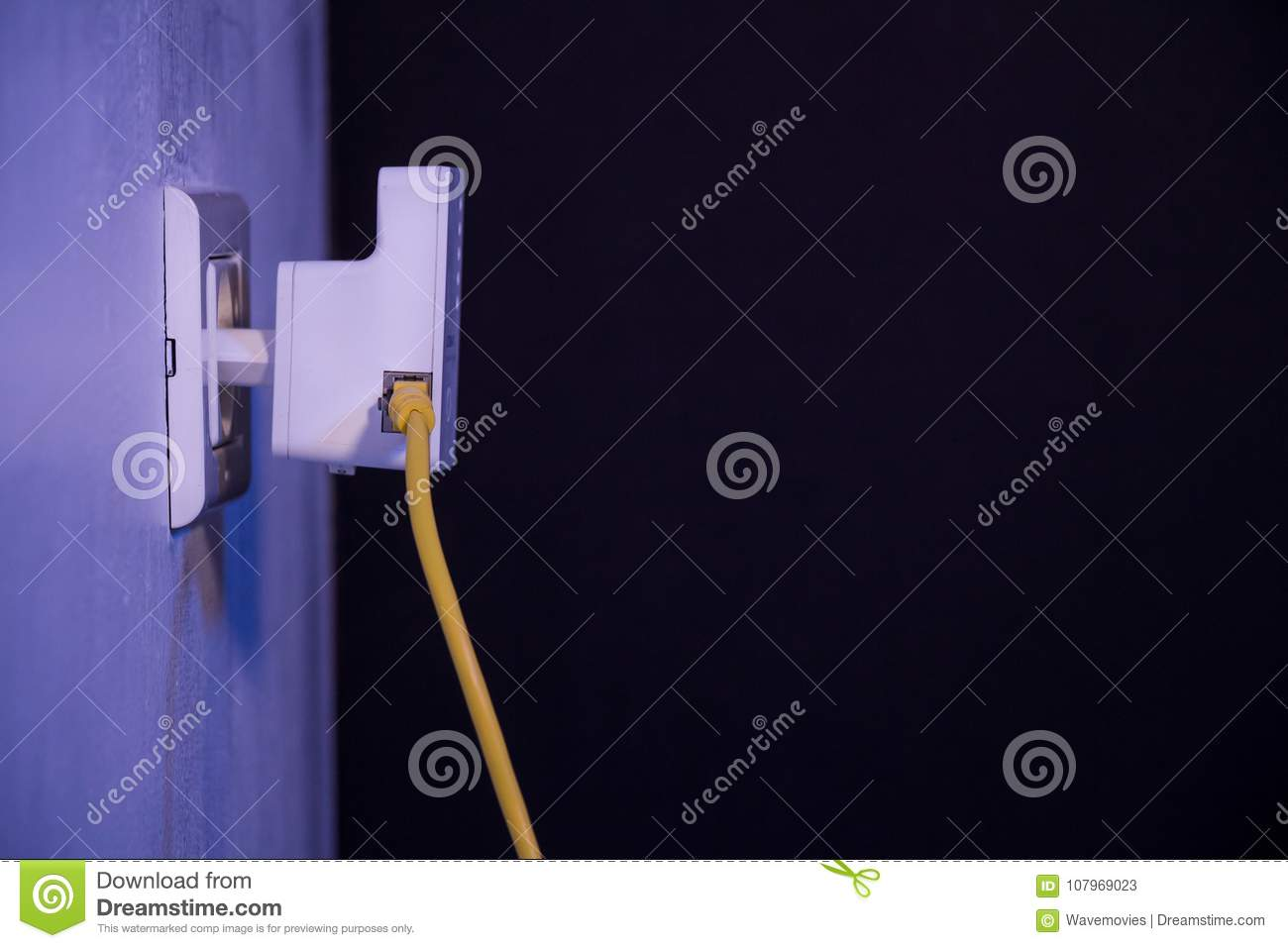 Wifi Extender In Electrical Socket On The Wall With Ethernet Cab Poin Jack Wiring Cable Plugged Device Is Access Point Mode That Help To Extend Wireless Network
