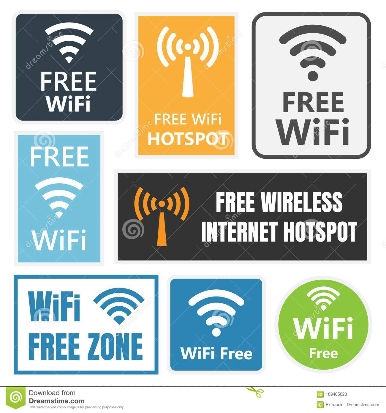 Wifi Free Icons And Signs Wireless Signal Stock Vector Illustration Of Phone Communication 108465023