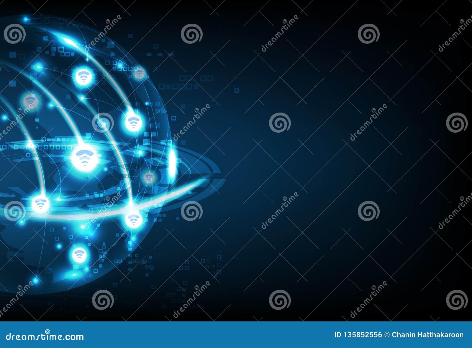 Wifi global, tecnología del negocio, conexión de la red de comunicaciones, ejemplo abstracto futuro del vector del fondo del plan