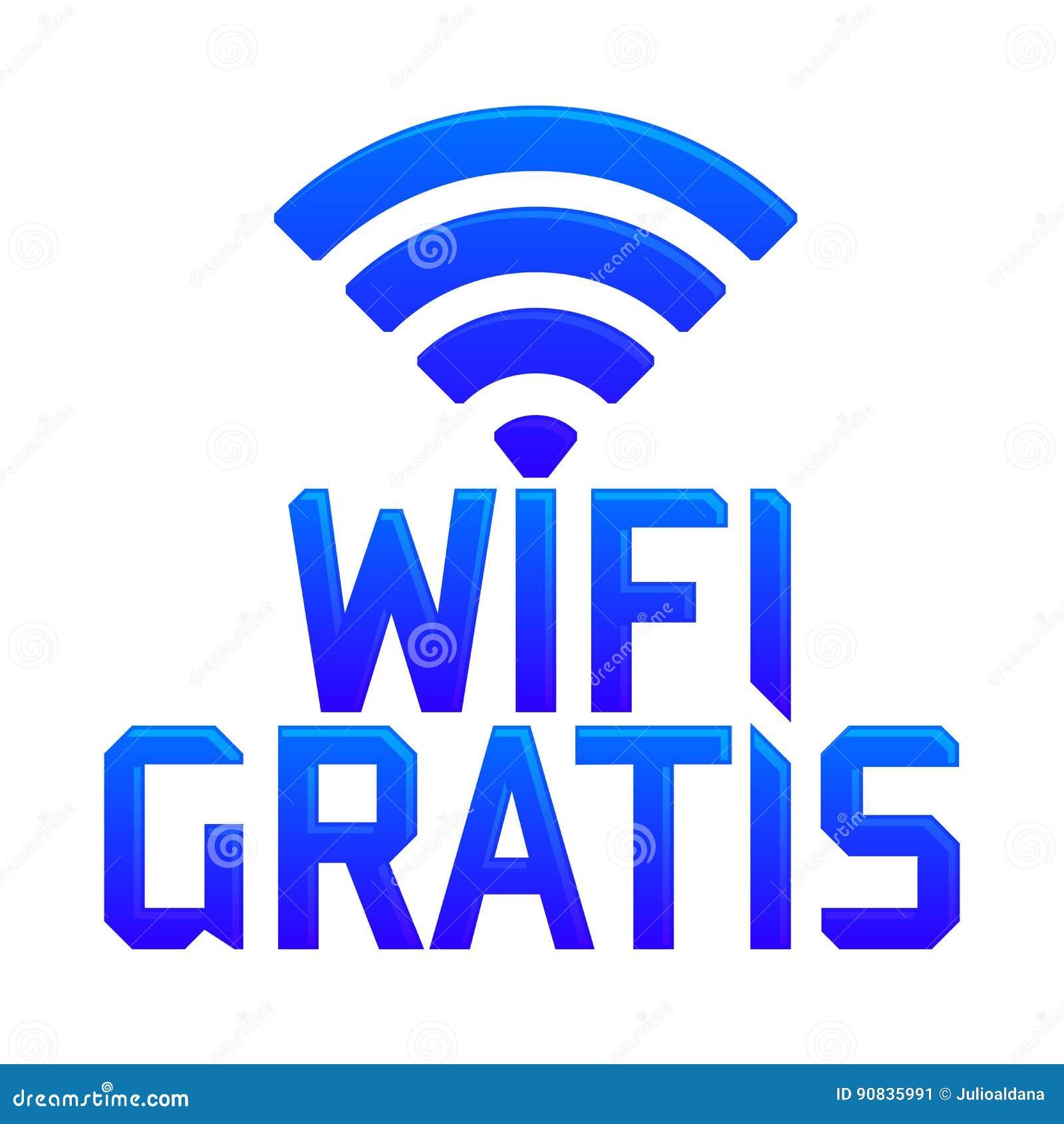 Wifi gratis, spanish translation: free wifi, vector zone sign icon.
