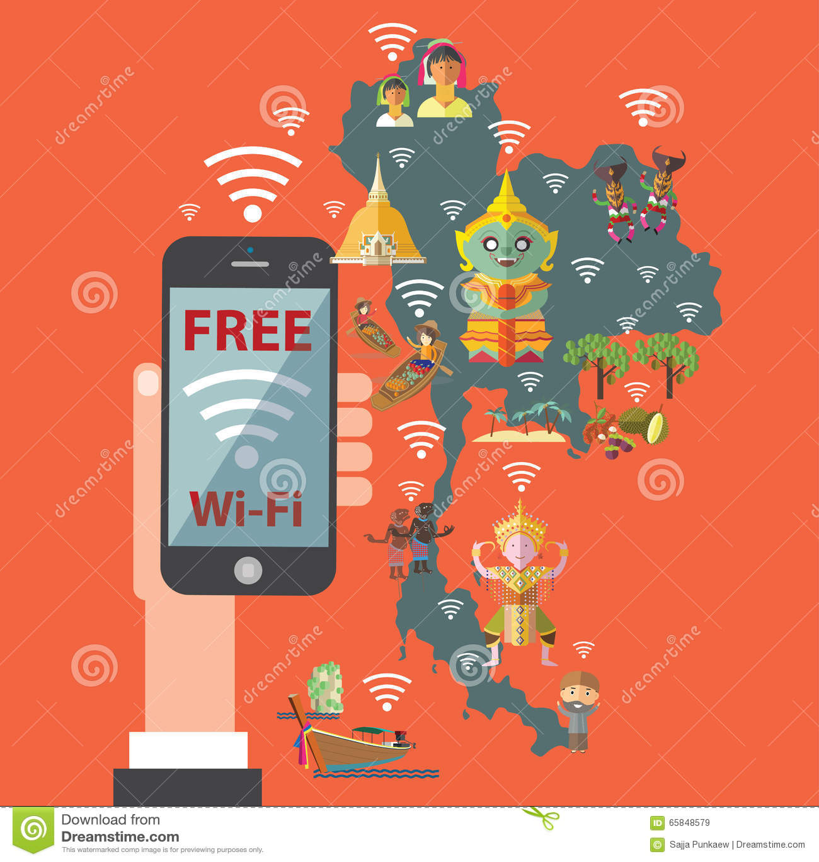 Carte Wifi Thailande.Wifi Gratuit Avec La Carte De La Thailande Illustration De Vecteur