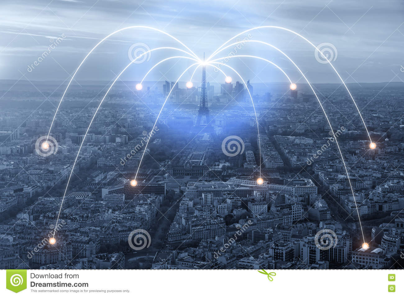 Wifi Icon And Paris City With Network Connection Concept