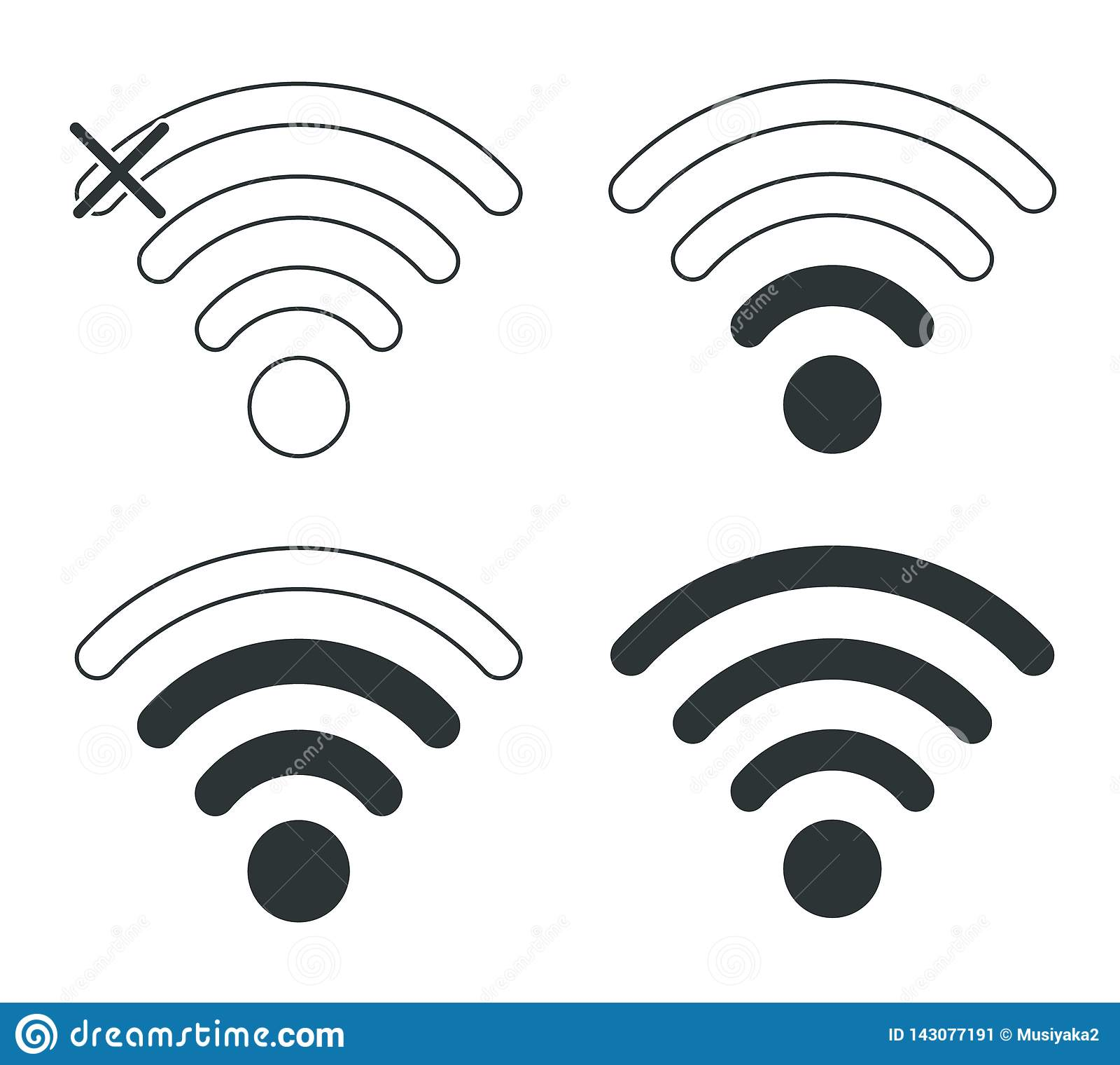 Wifi Ikonen Wi-FiNetzebene Zugang zum Wi-Finetz