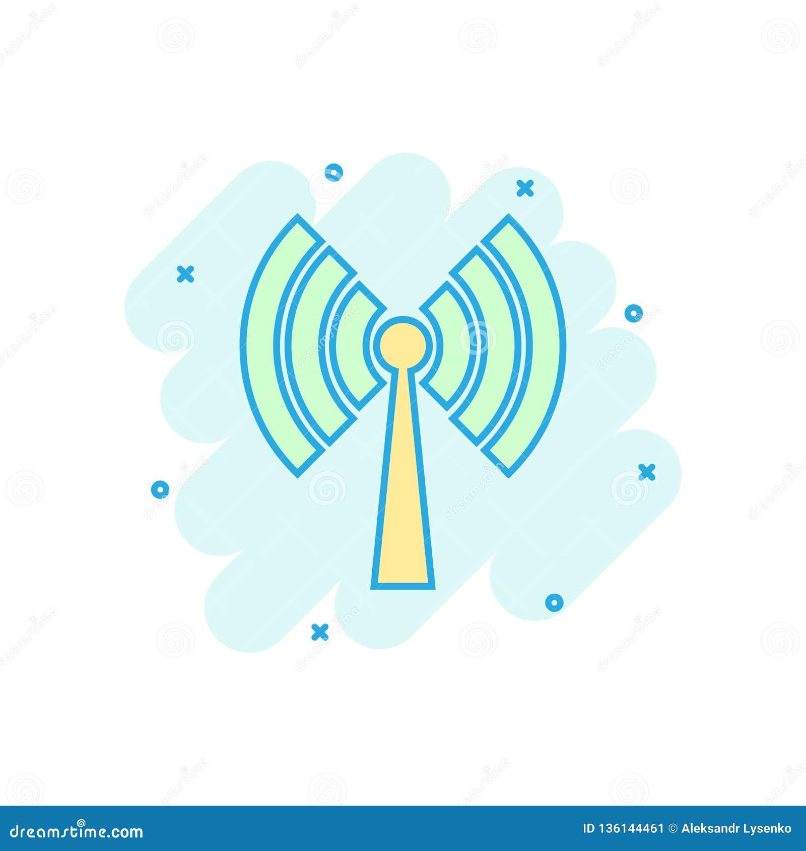 Wifi internetsymbol i komisk stil för vektortecknad film för trådlös teknologi Wi-fi pictogram för illustration Nätverkswifiaffär