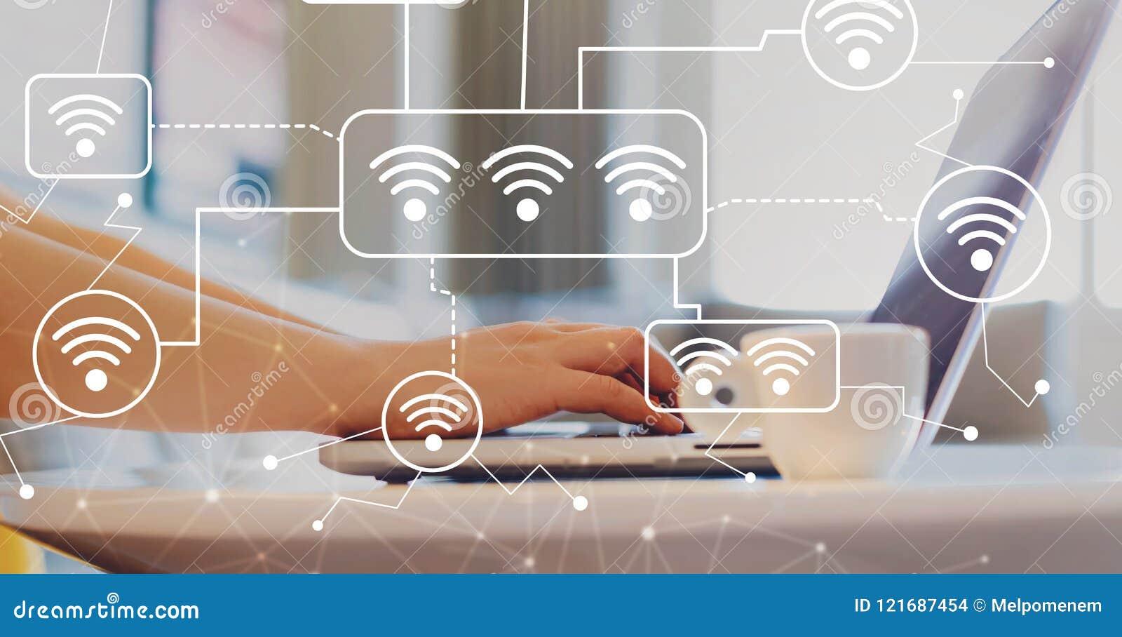 WiFi med kvinnan som använder en bärbar dator