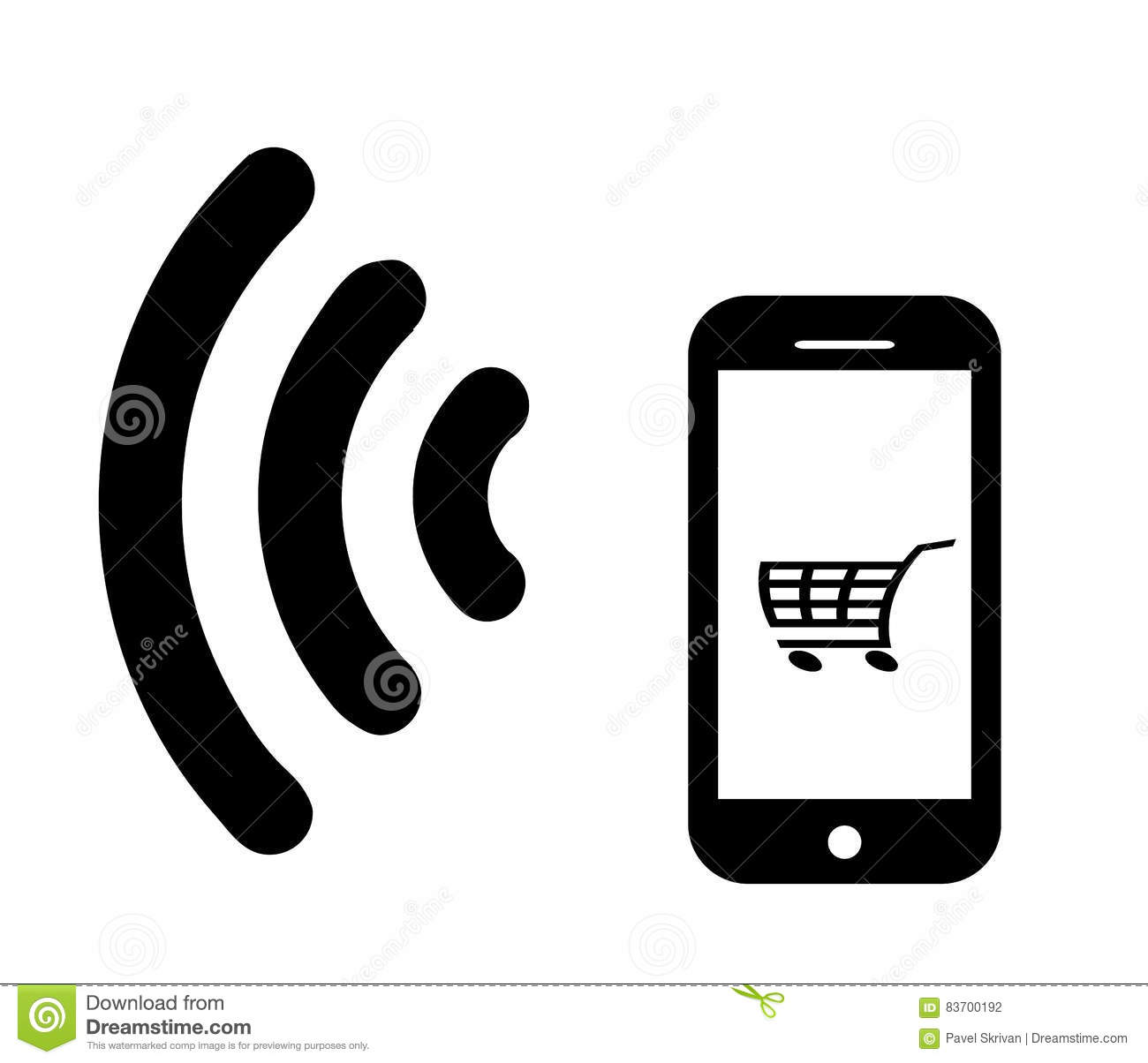 03b7a2b6fd7 Mobile phone with a blank screen.Vector illustration.Smartphone icon.Mobile  smart phone.Internet shopping.Wifi Mobile Pay.Virtual money.Online shopping.