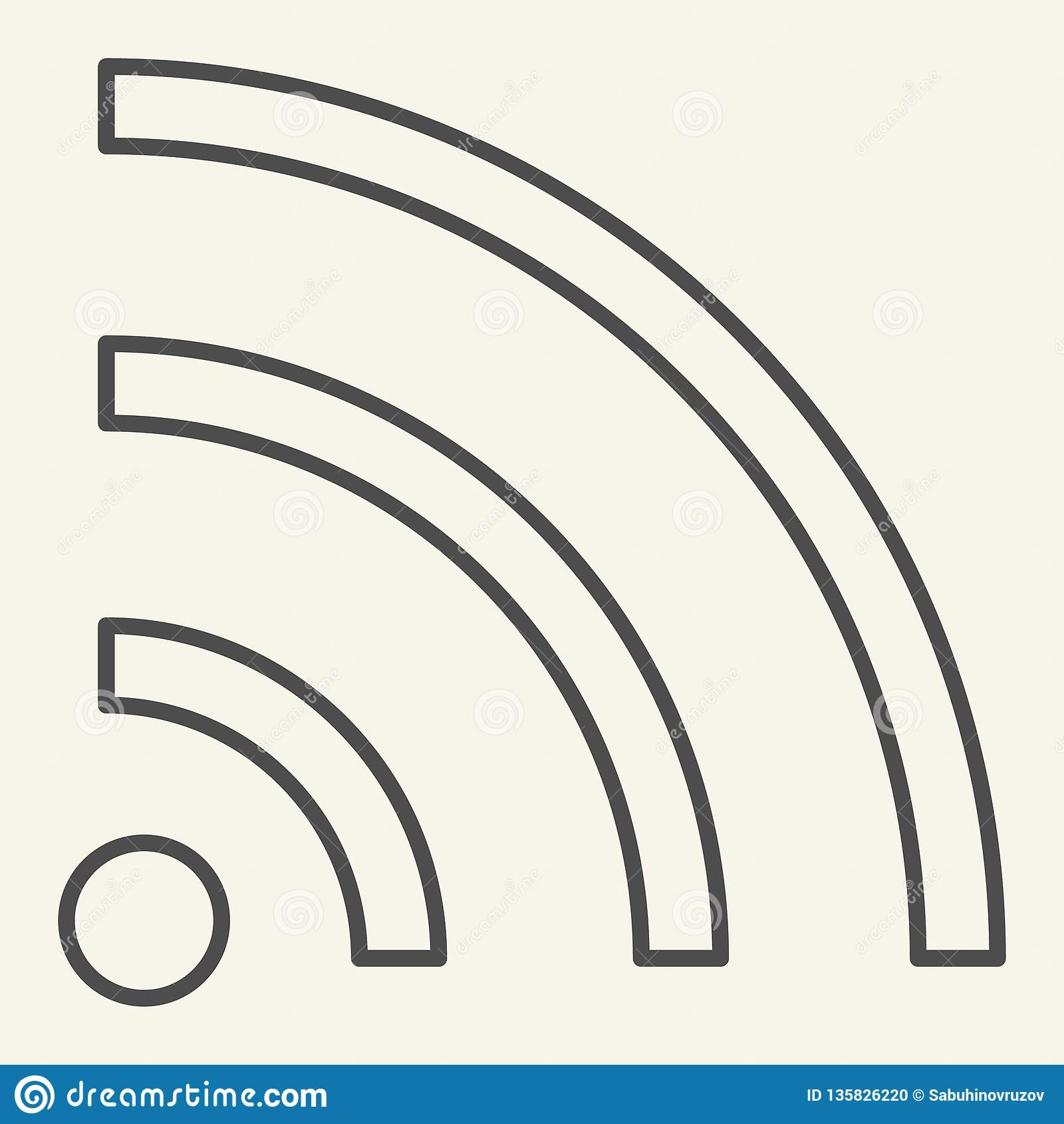 WiFi-pictogram van de signaal het dunne lijn De vectordieillustratie van Internet op wit wordt geïsoleerd Draadloos de stijlontwe