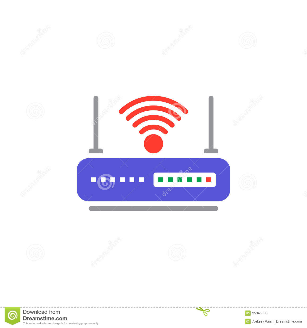 Wifi Router Icon Vector Filled Flat Sign Solid Colorful Pictogram