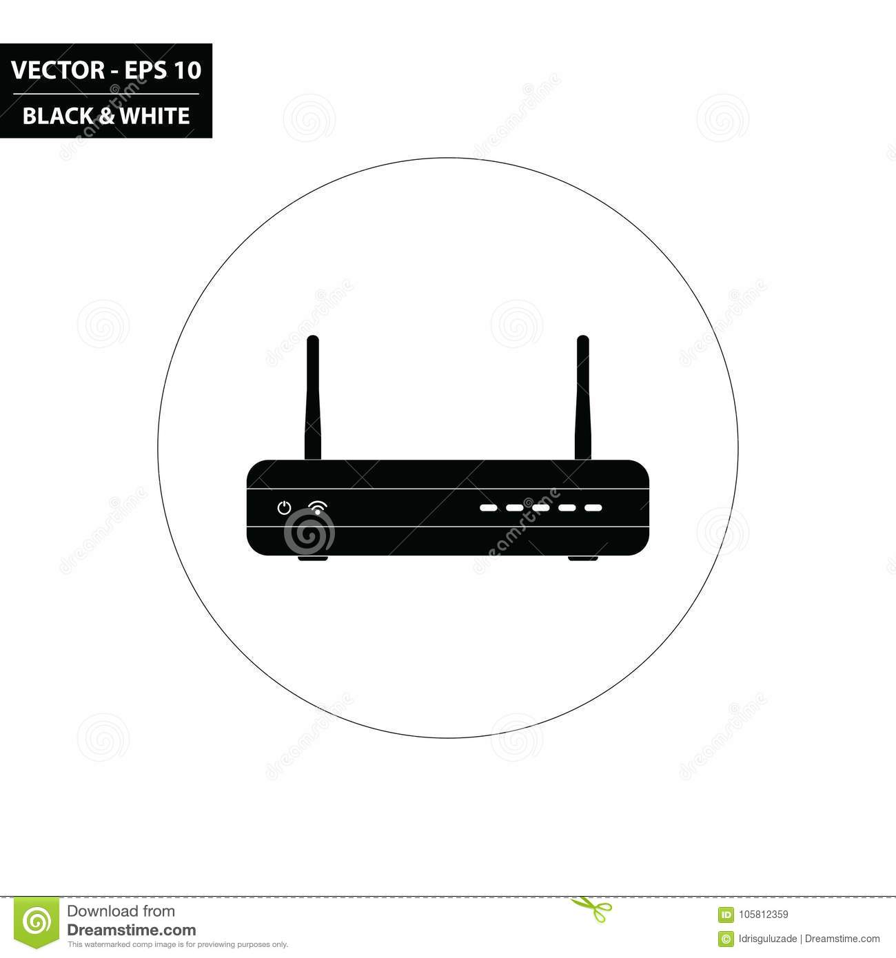 WiFi Router - Modem Black And White Flat Icon Stock Vector