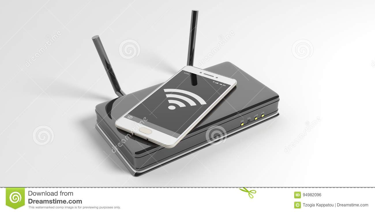 Wifi Router And A Smartphone On White Background  3d Illustration