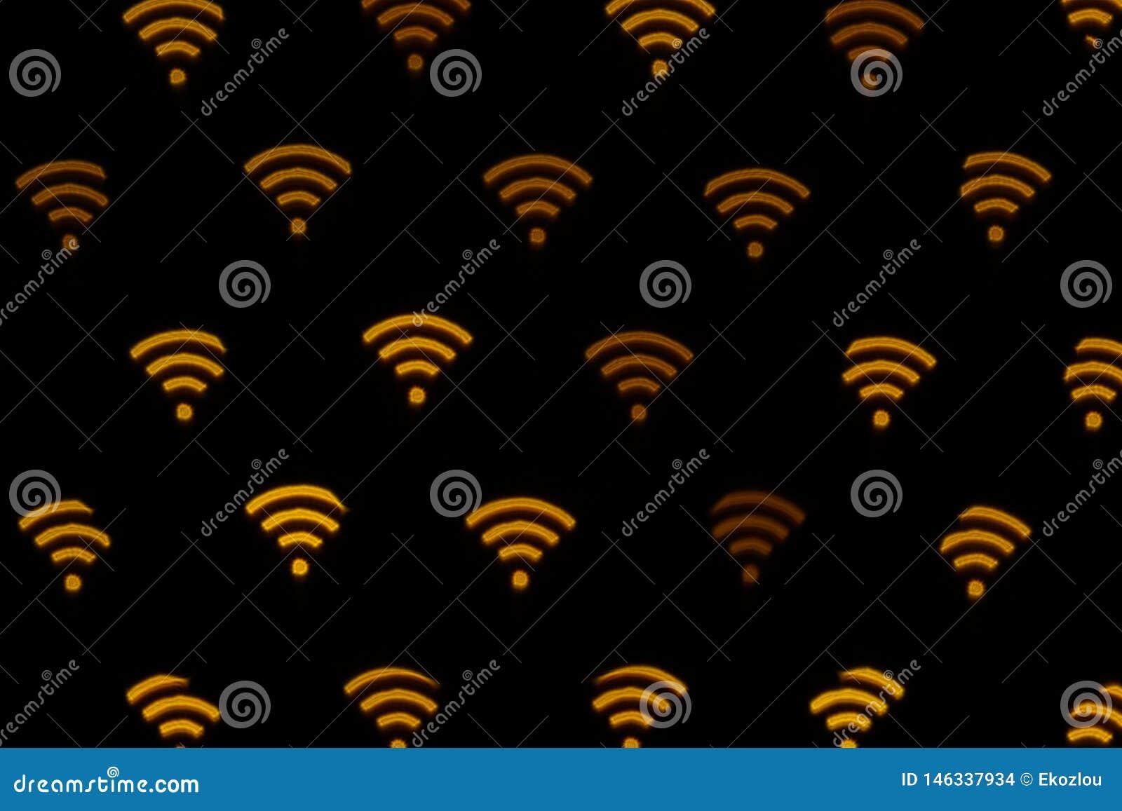 WIFI-Symbolzusammenfassungshintergrund Ikonenverbindung zum wifi, Ikone des drahtlosen Netzwerks