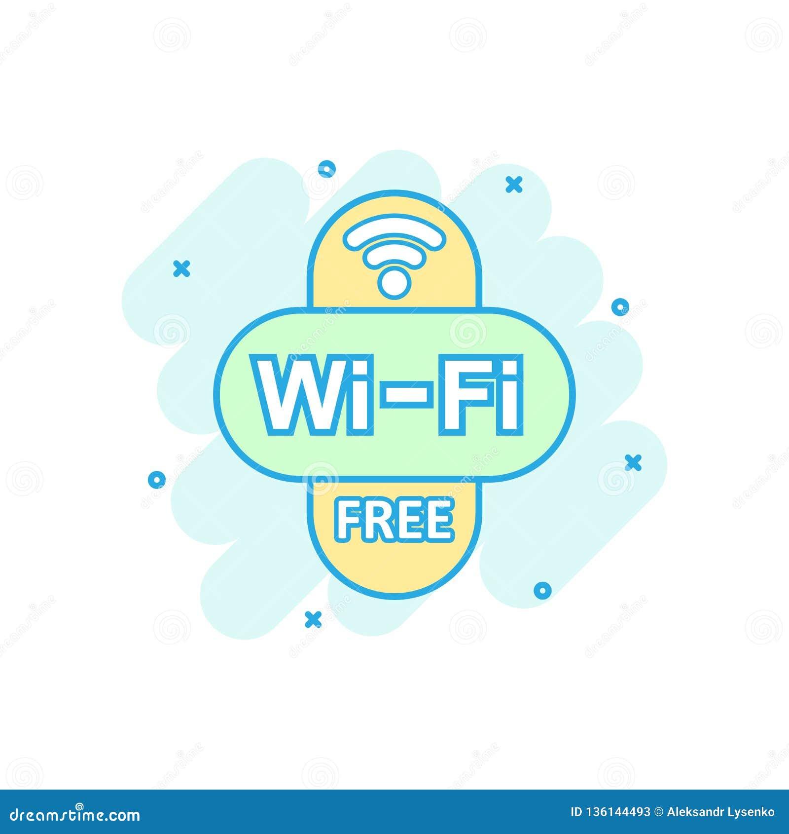 Wifi vrij pictogram in grappige stijl Van het de technologie vectorbeeldverhaal van WiFi draadloos de illustratiepictogram Van be