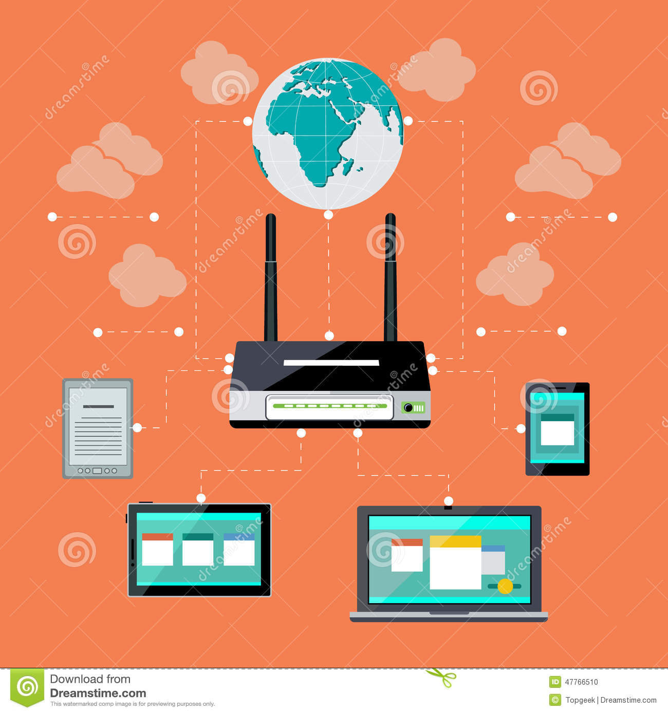 Wifi workstation with globe and router concept stock vector download wifi workstation with globe and router concept stock vector illustration of electronics gateway greentooth Choice Image