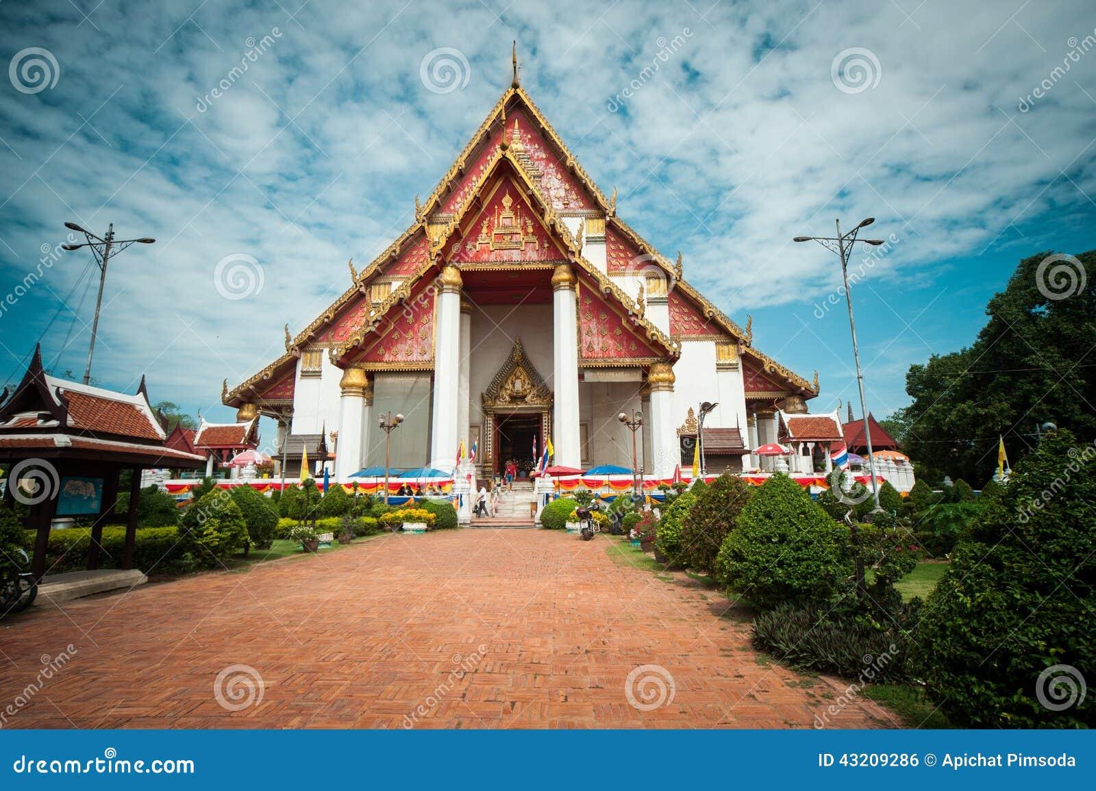 Download Wiharn Mongkolborpit arkivfoto. Bild av religion, tempel - 43209286