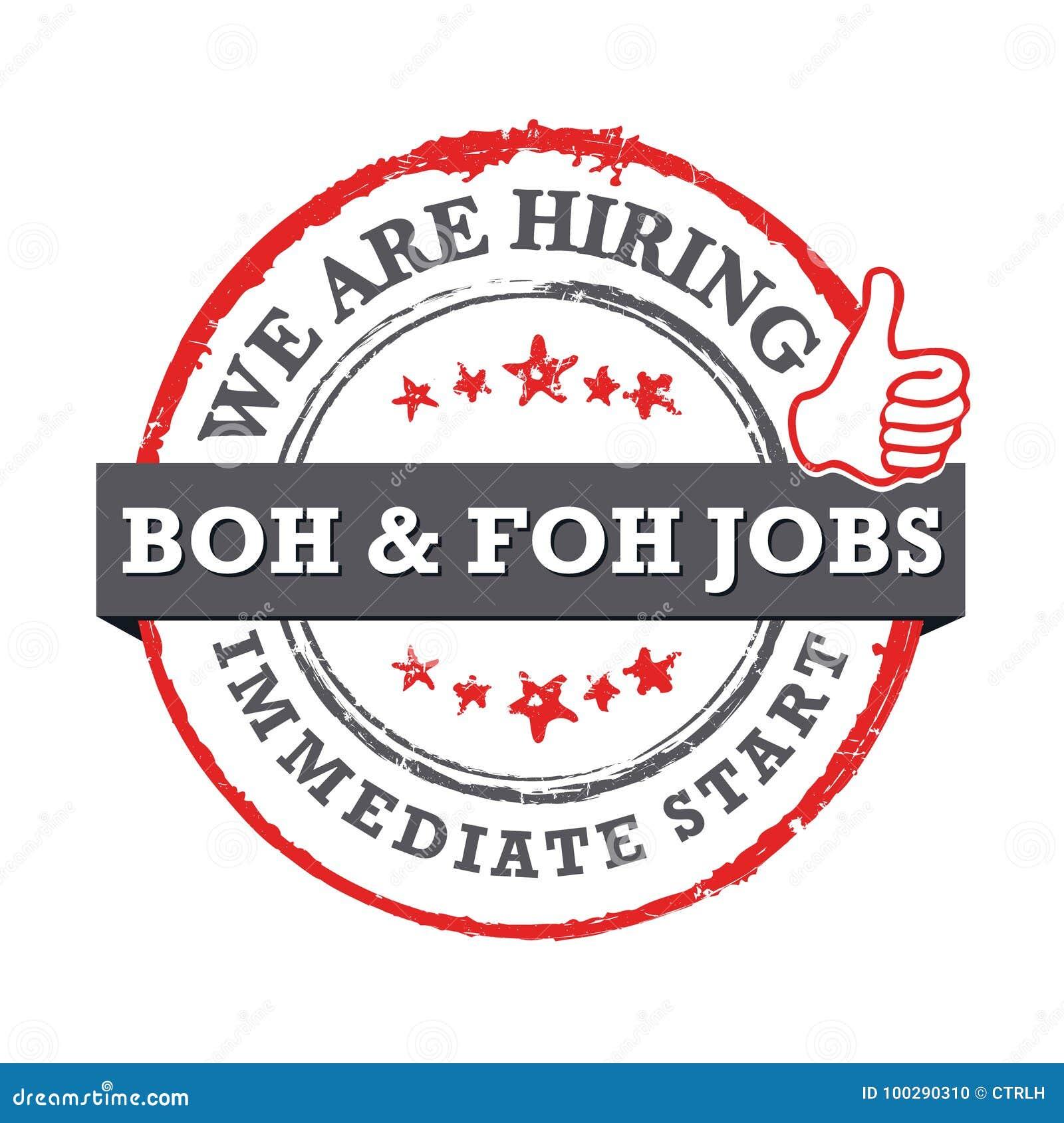 Wij huren - beschikbare de banen van BOH en FOH- Direct begin - de voor het drukken geschikte zegel van de baanaanbieding