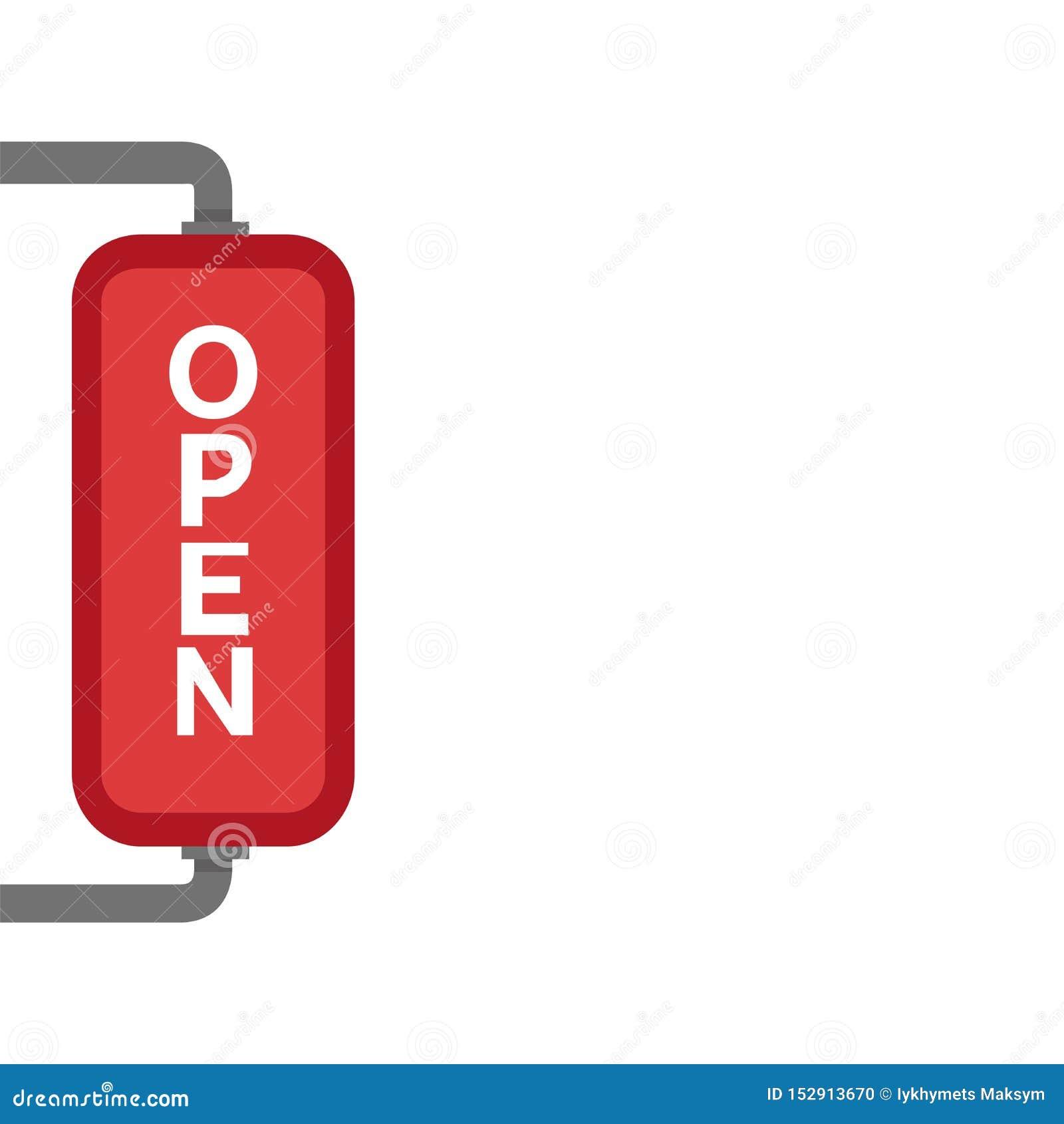Wij zijn Open Teken - Illustratie van rood teken met bezoekers van de informatie de welkom hetende winkel