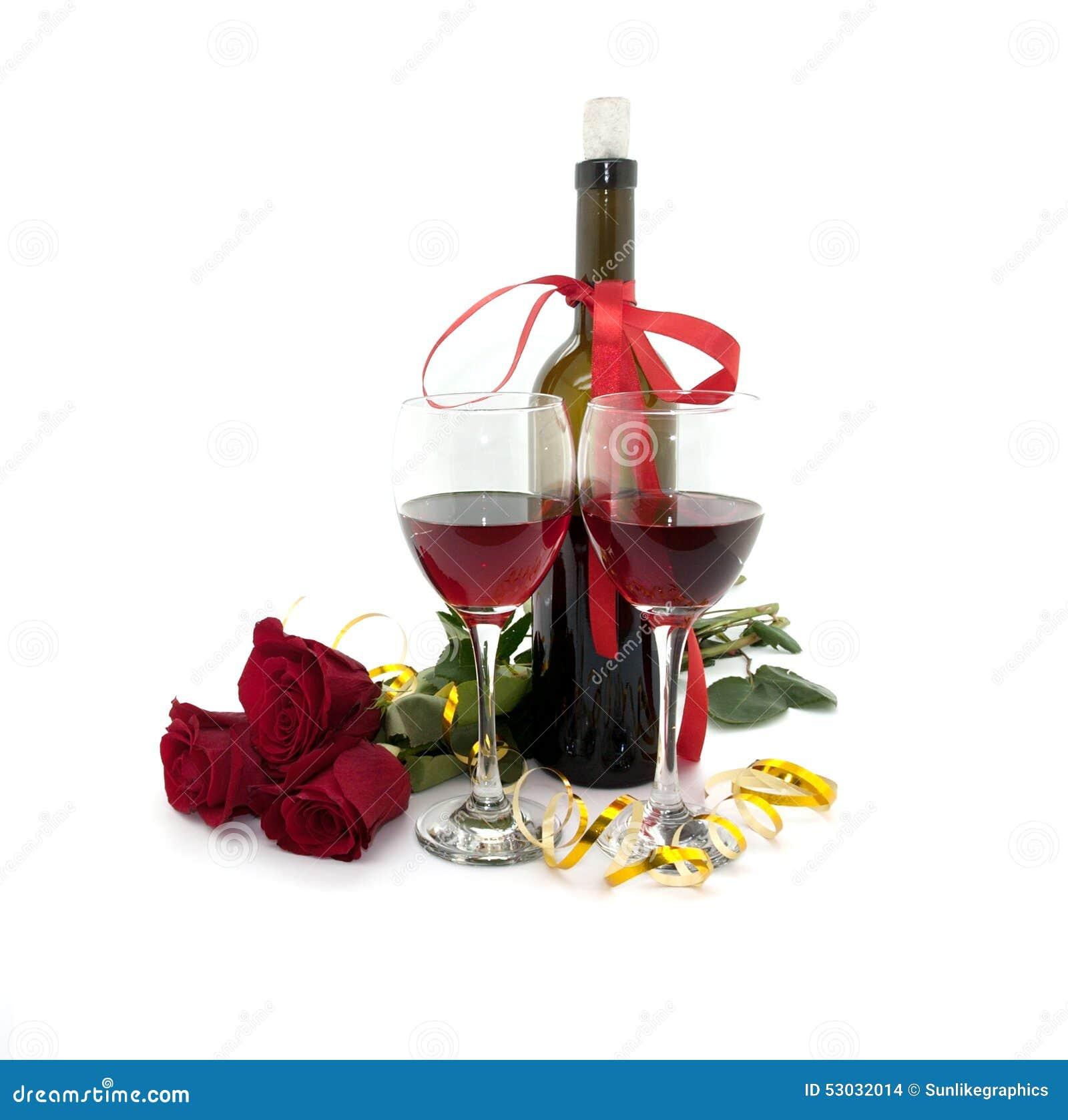 Wijn in glazen, rood die rozen en lint op wit worden geïsoleerd
