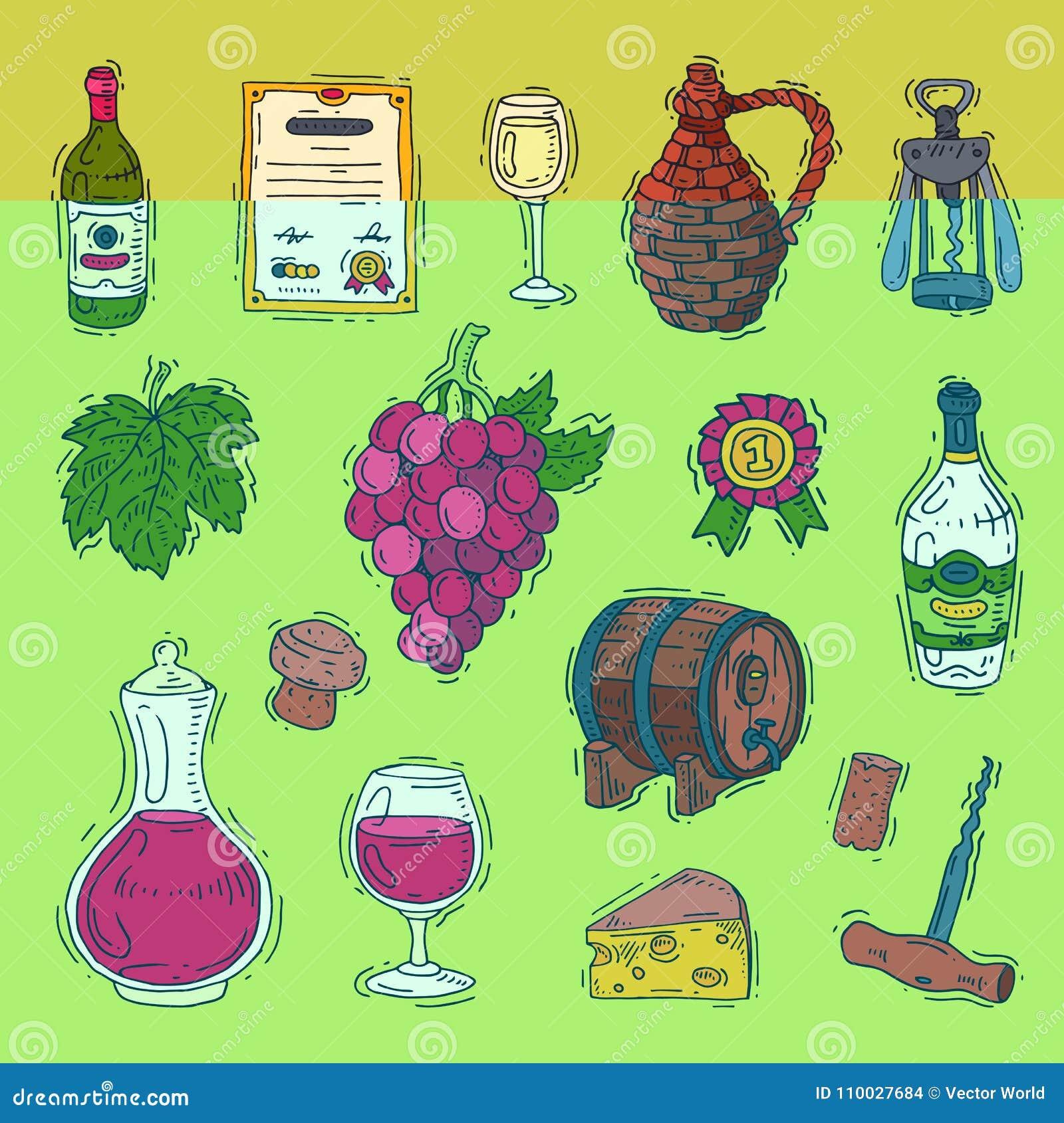 Wijn vectoralcohol in winebottles van wijnmakerij en wijnglas met druif of wijnstokillustratiereeks van wijnkelder