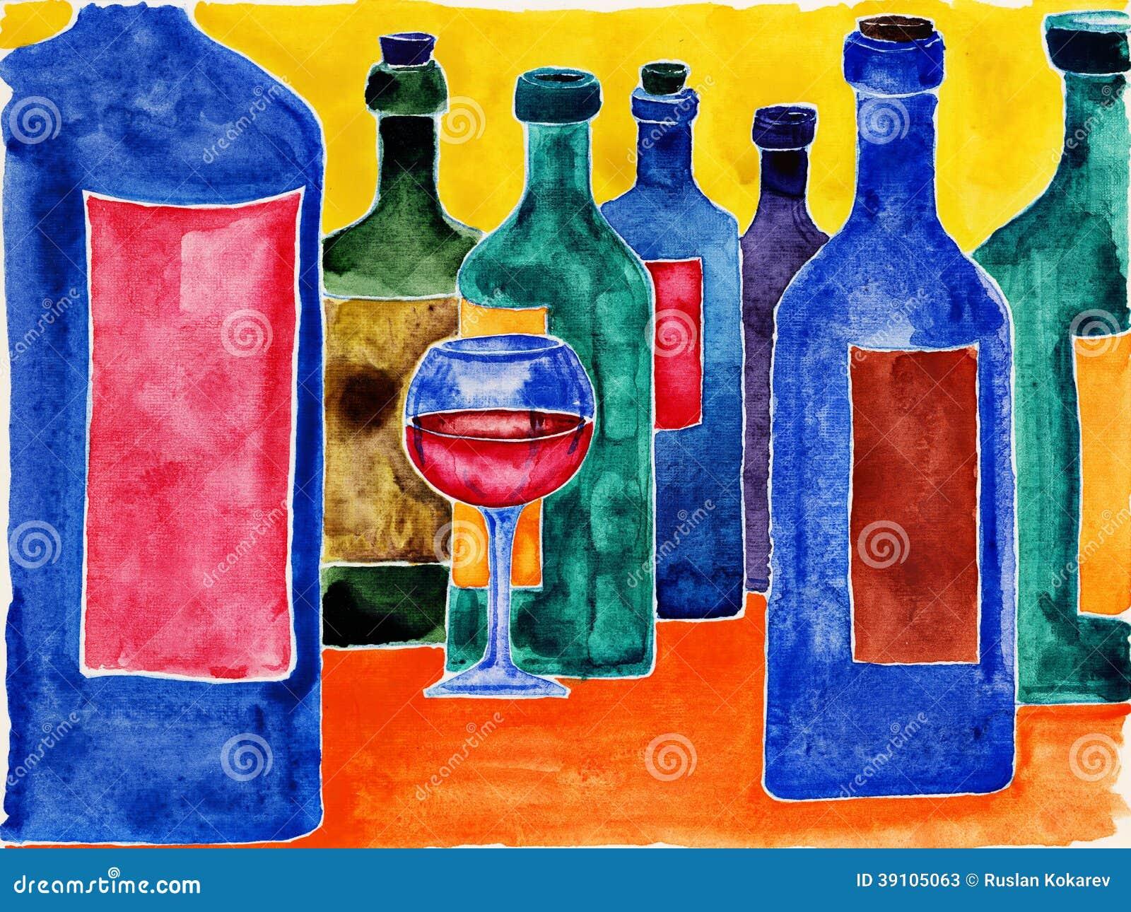 Wijnflessen.