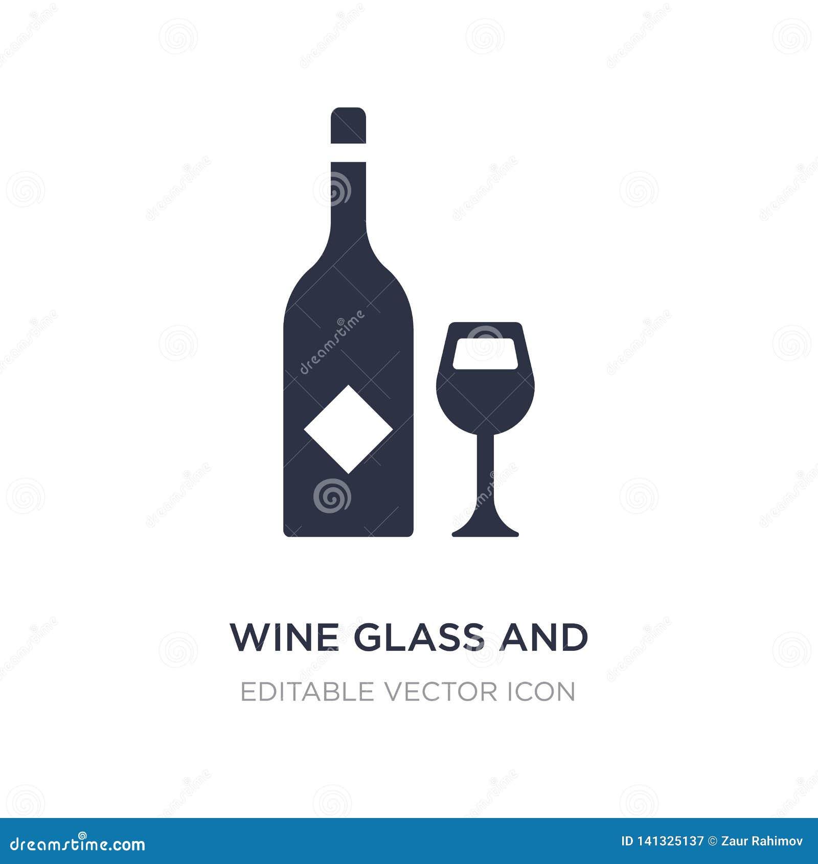 Wijnglas en flessenpictogram op witte achtergrond Eenvoudige elementenillustratie van Voedselconcept
