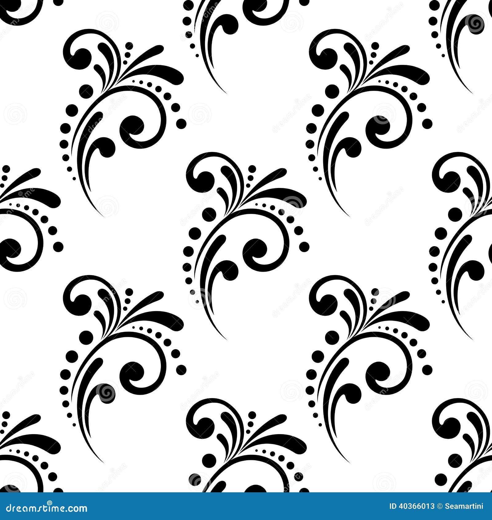 Wijnoogst die bloemen naadloos patroon scrollen vector illustratie afbeelding 40366013 - Wijnoogst ...