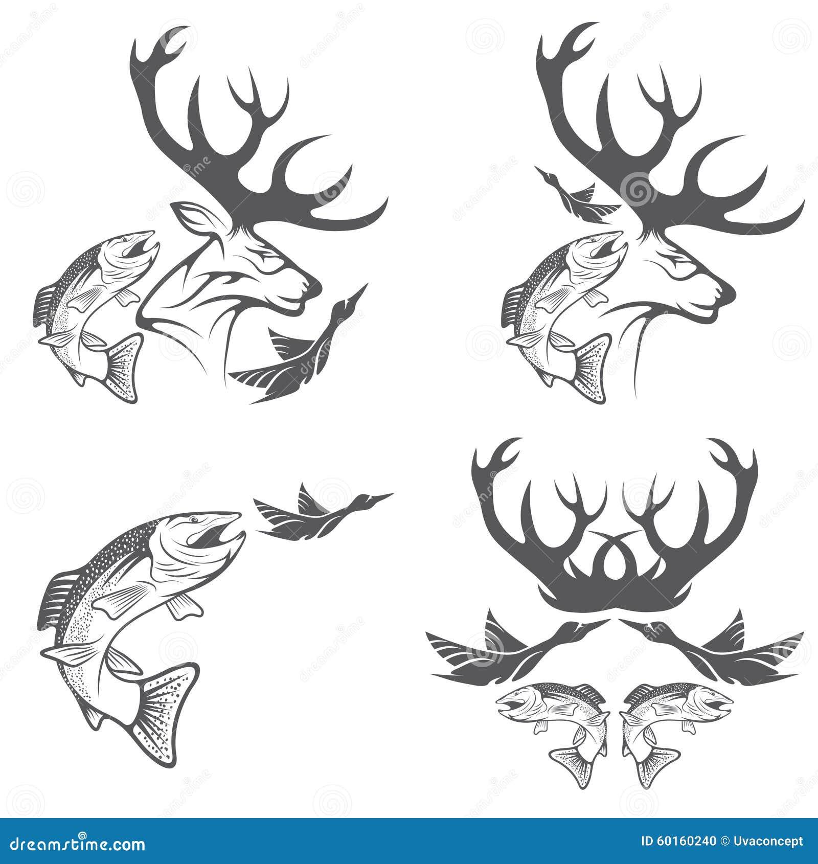 Wijnoogst die en visserijetiketten en ontwerpelementen jagen