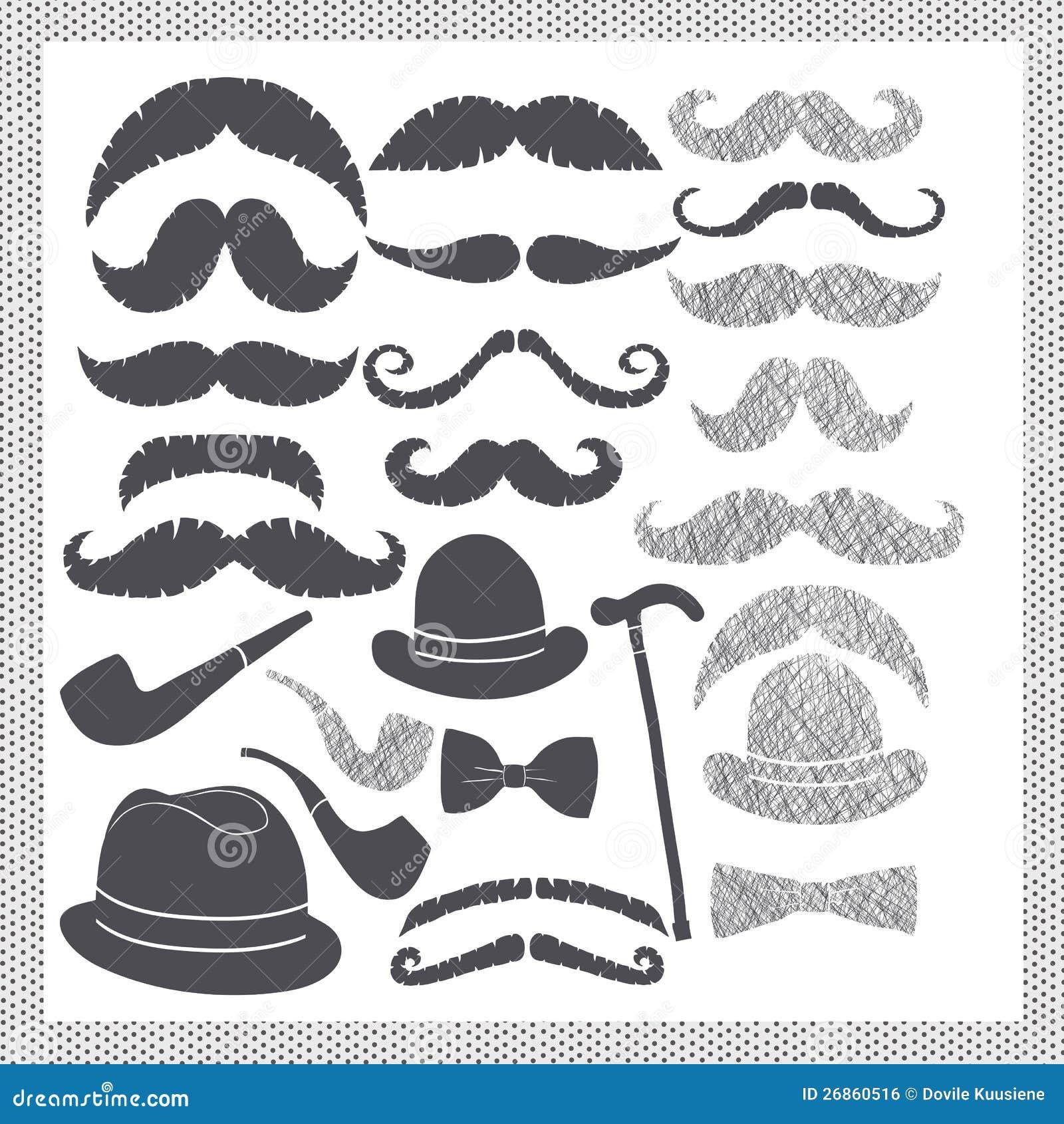 Wijnoogst die met snorren hoeden en pijpen wordt geplaatst royalty vrije stock afbeelding - Wijnoogst ...