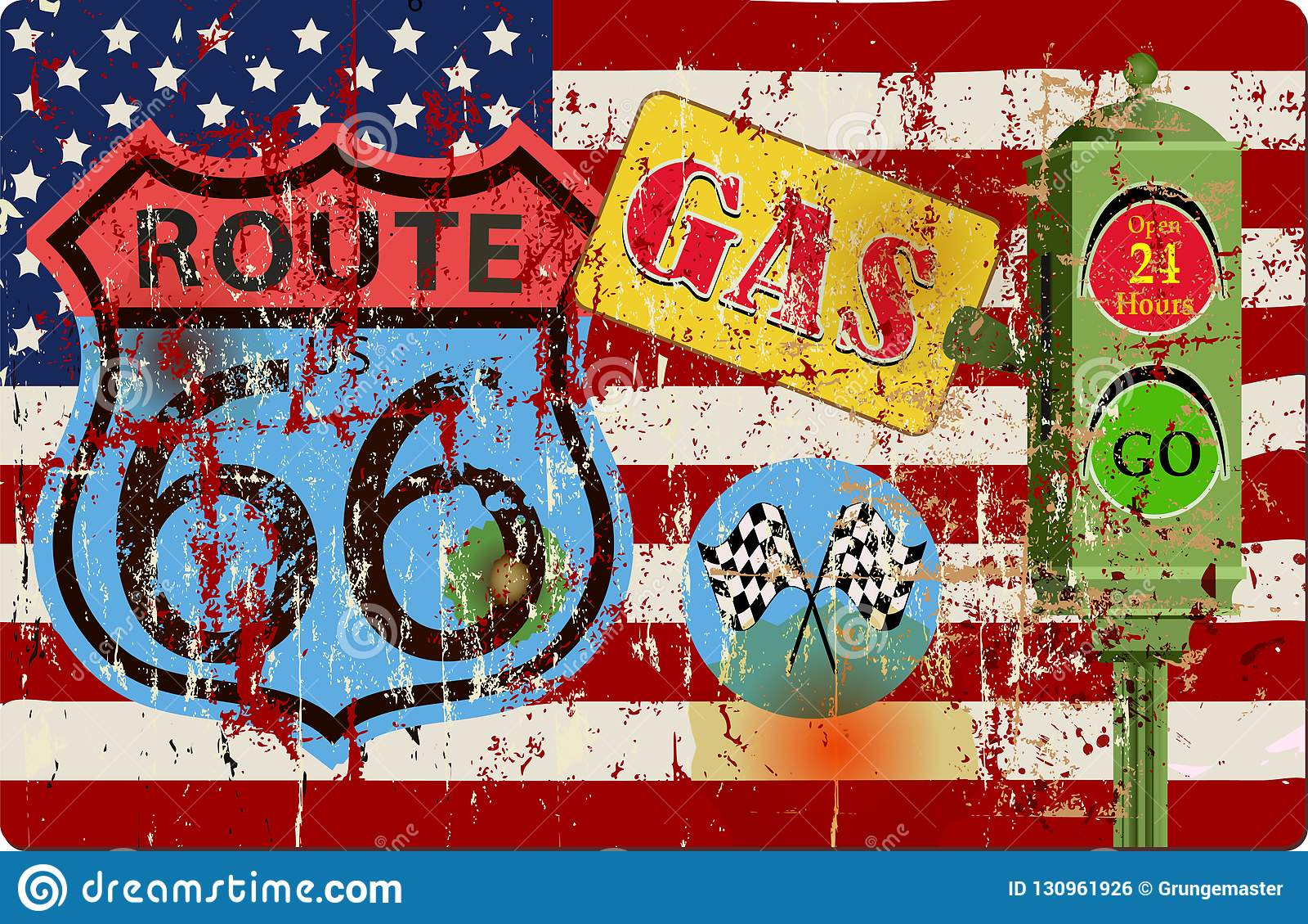 Wijnoogst geslagen route 66 benzinestationteken, vectorillustratie