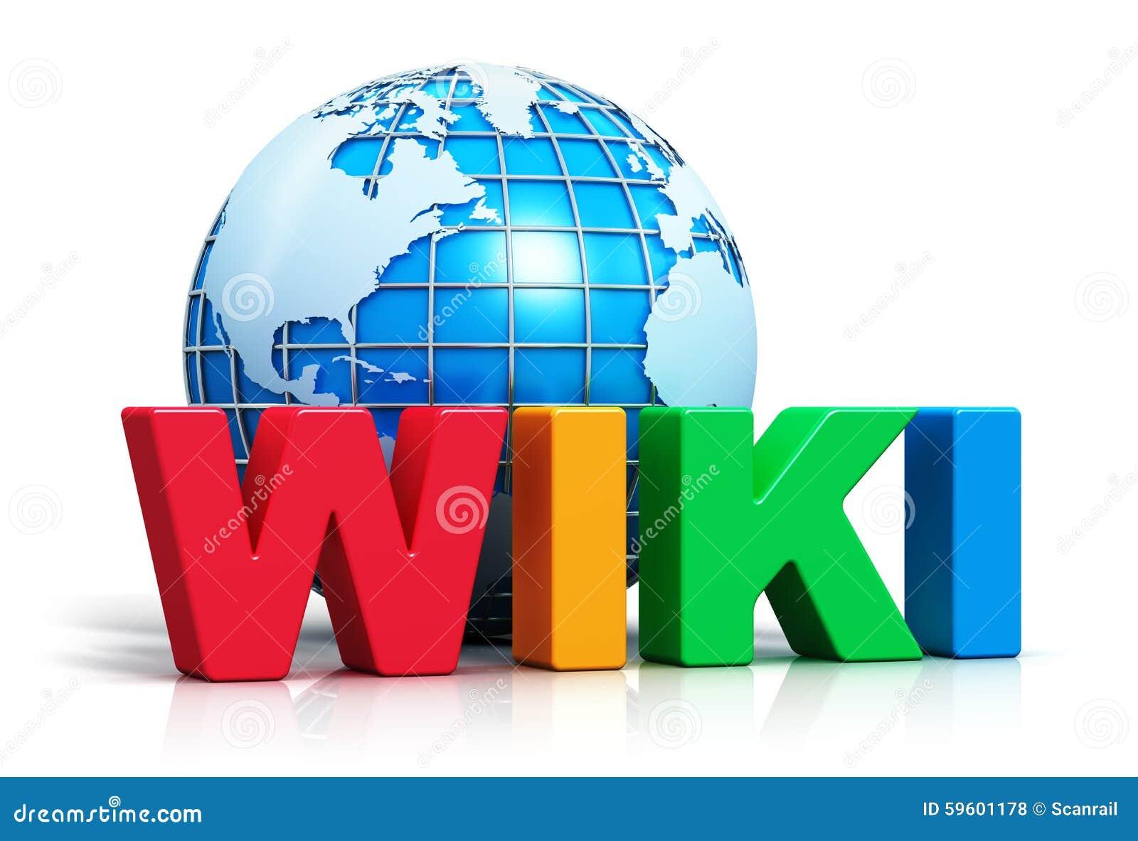 Wiki text and Earth globe stock illustration  Illustration