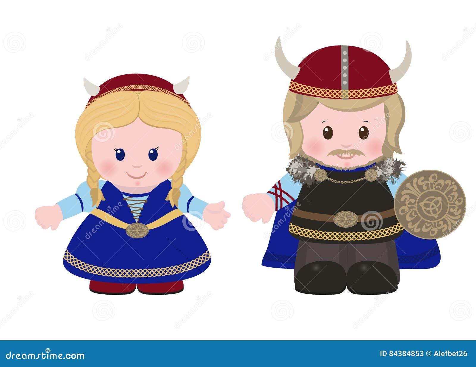 Wikinger Mann Und Frau In Der Alten Skandinavischen Kleidung Stock