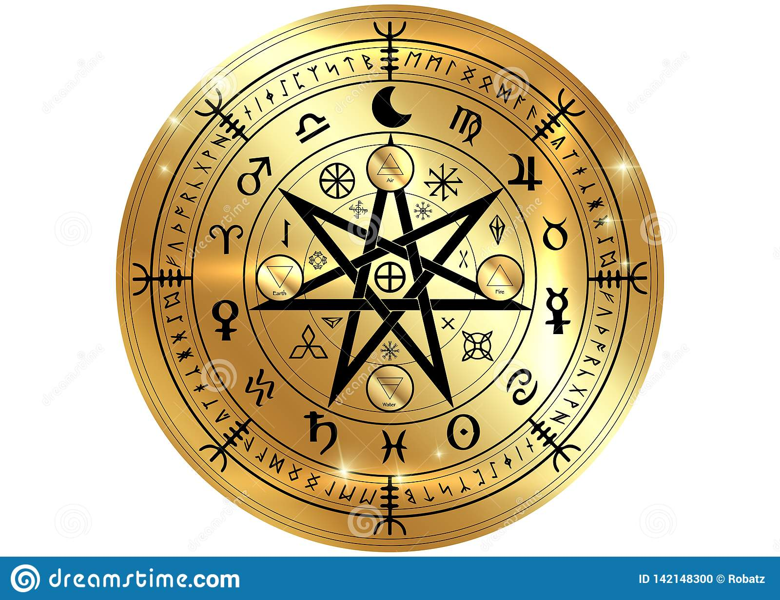 Wiccan Symbol Of Protection  Gold Mandala Witches Runes