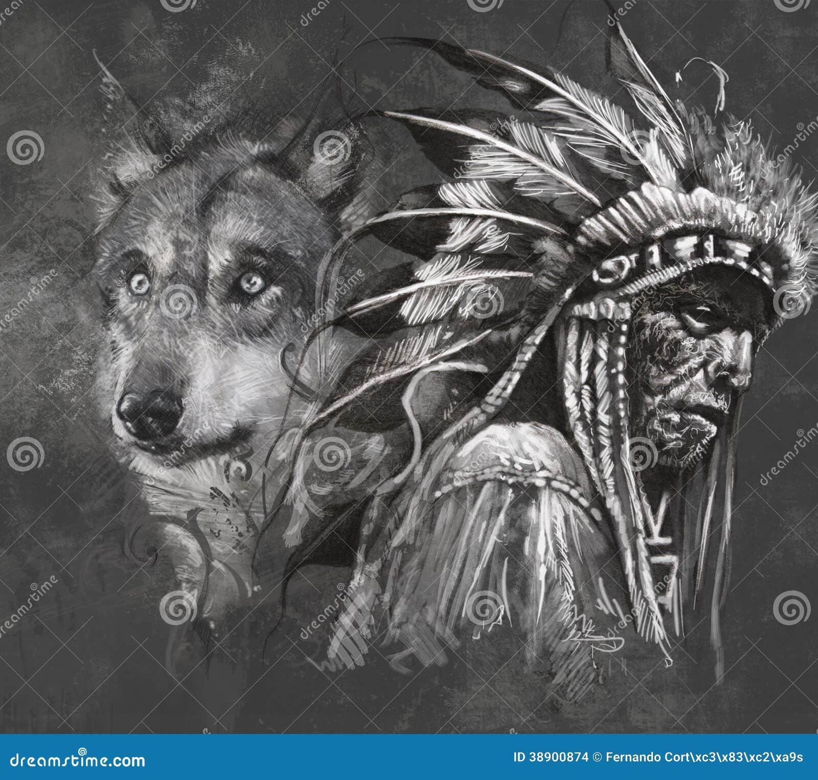 Wilczy I Amerykańsko Indiański Szef Tatuaż Ilustracji