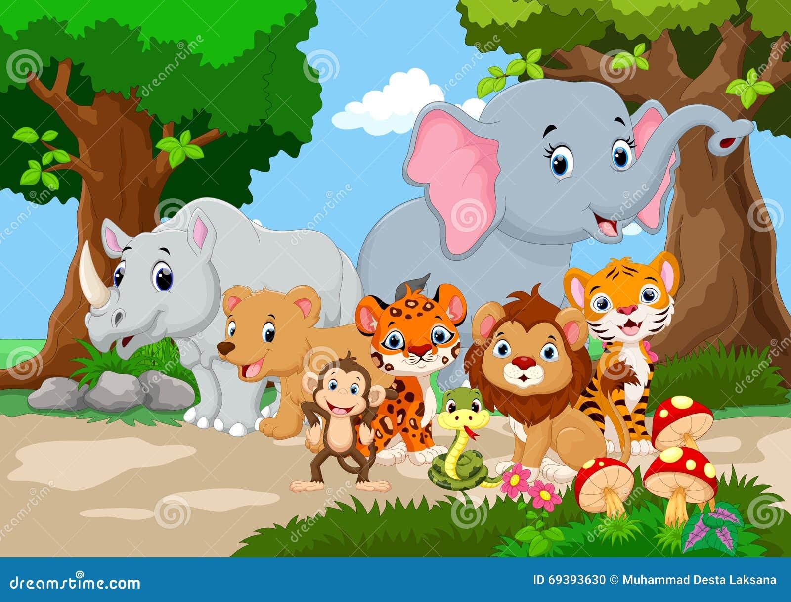 Beautiful garden cartoon - Wild Animal Cartoon In A Beautiful Garden