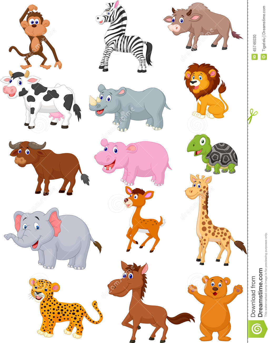 cartoon wild animal collection illustration vector deer african preview