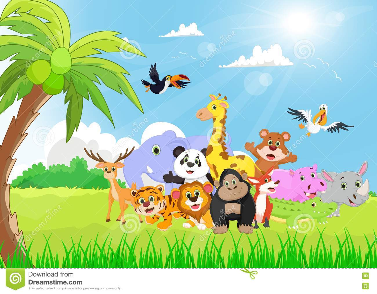 Wild Animal Cartoon In The Sunny Garden Stock Vector Image 72128880