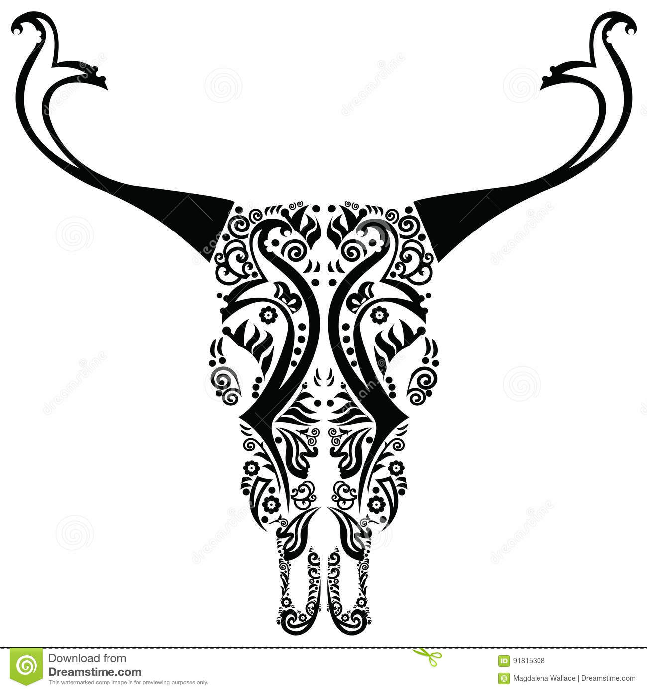 Wild Animal Skull In Black And White With Swirly And Floral Elements