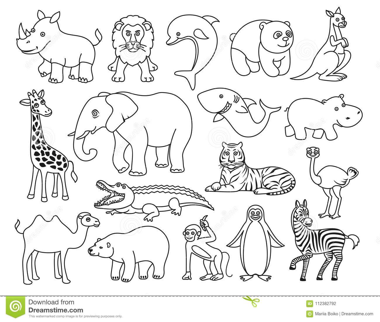 Wild Animals Black And White Graphic In The Line Style ...