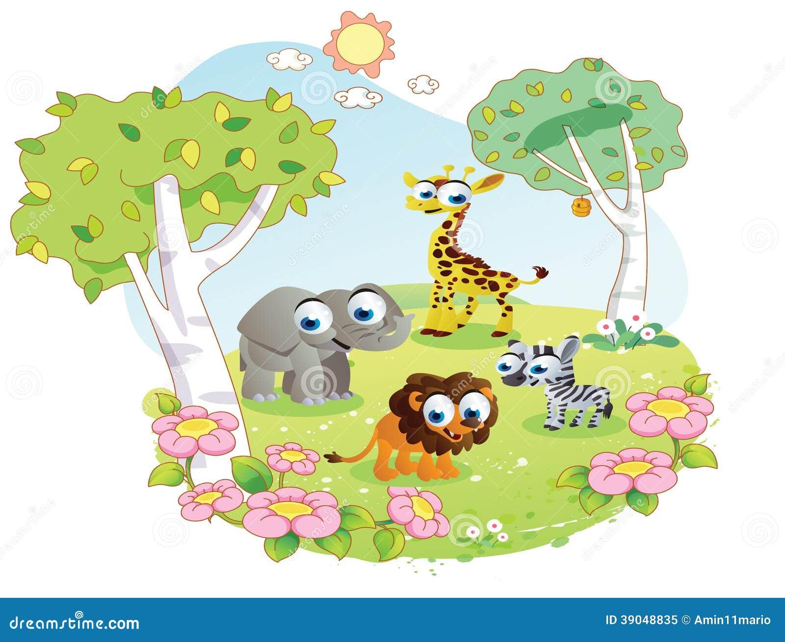 Flower garden cartoon - Wild Animals Cartoon At The Flower Garden Royalty Free Stock Photo